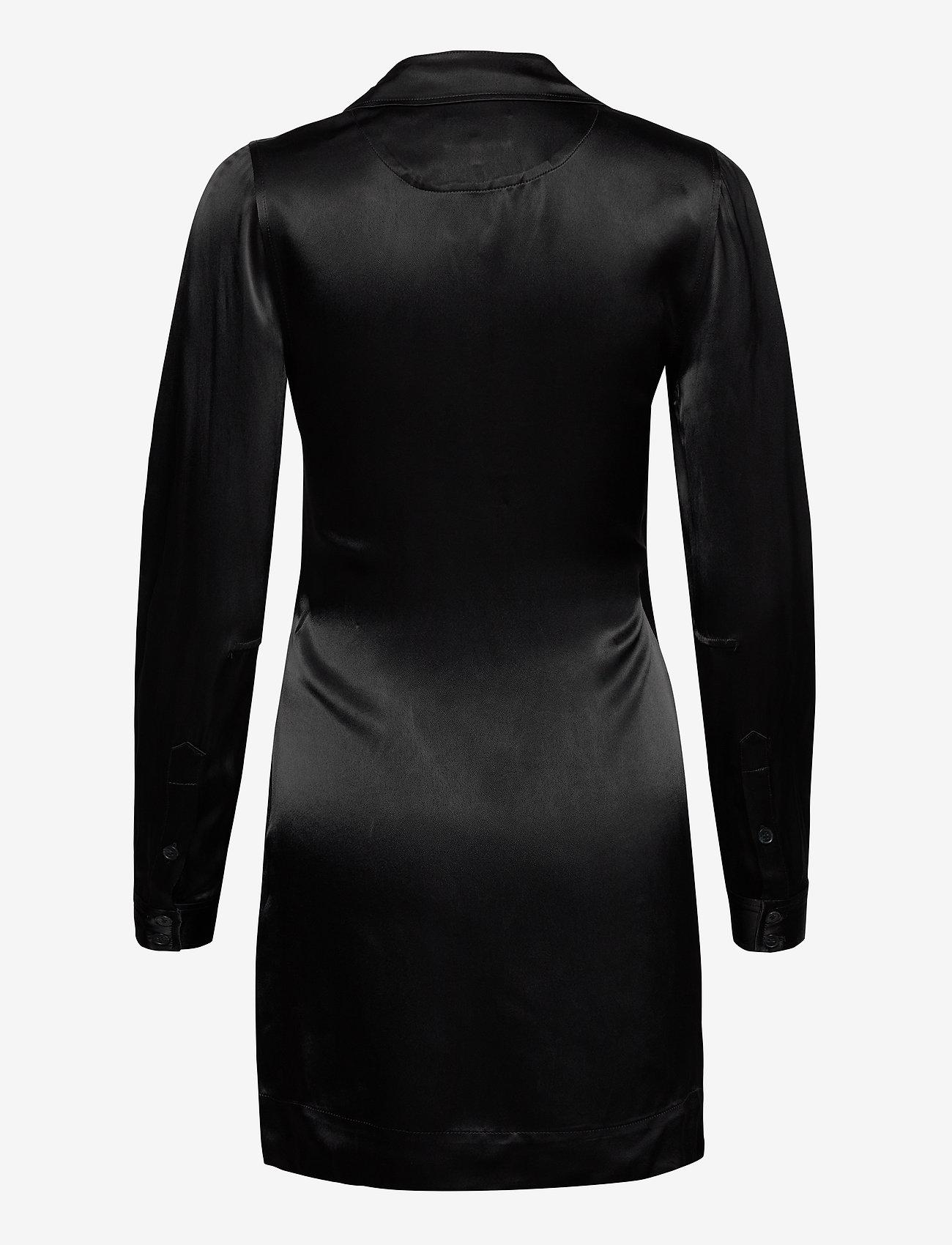 Ganni - Heavy Satin - slå-om-kjoler - black - 1