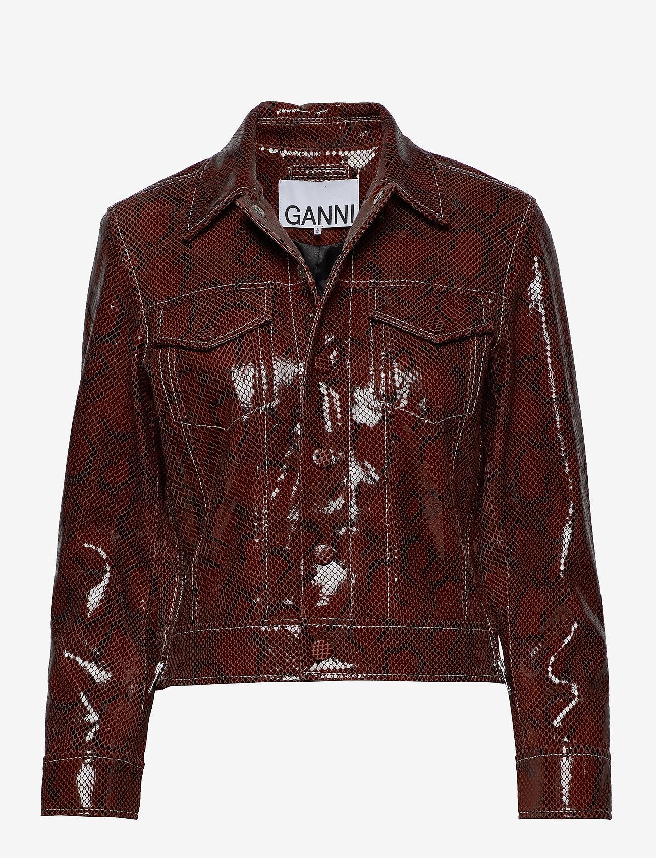 Ganni - Snake Foil Leather - nahkatakit - decadent chocolate - 0