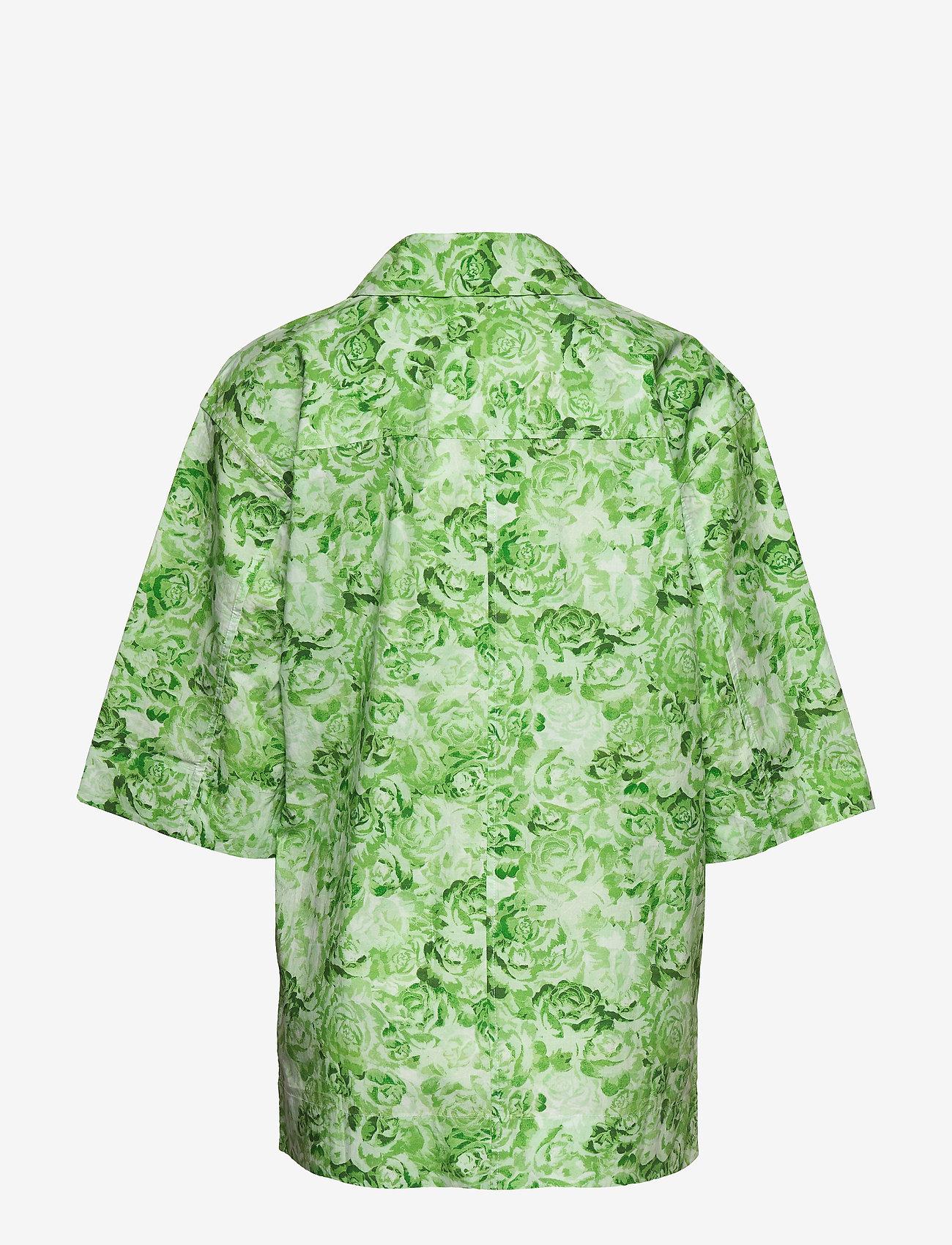 Ganni - Printed Cotton Poplin - lyhythihaiset paidat - island green - 1