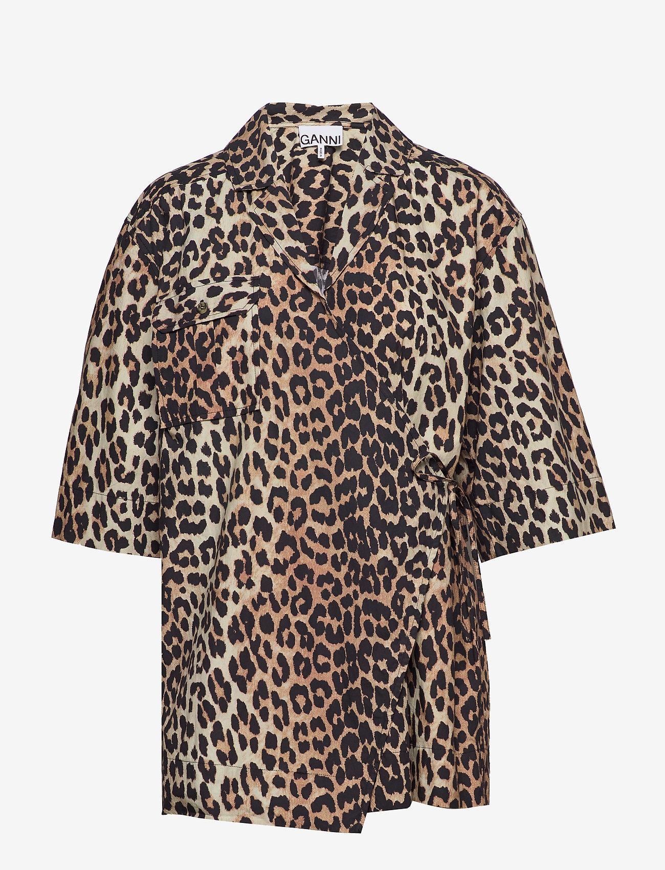 Ganni - Printed Cotton Poplin - lyhythihaiset paidat - leopard - 0