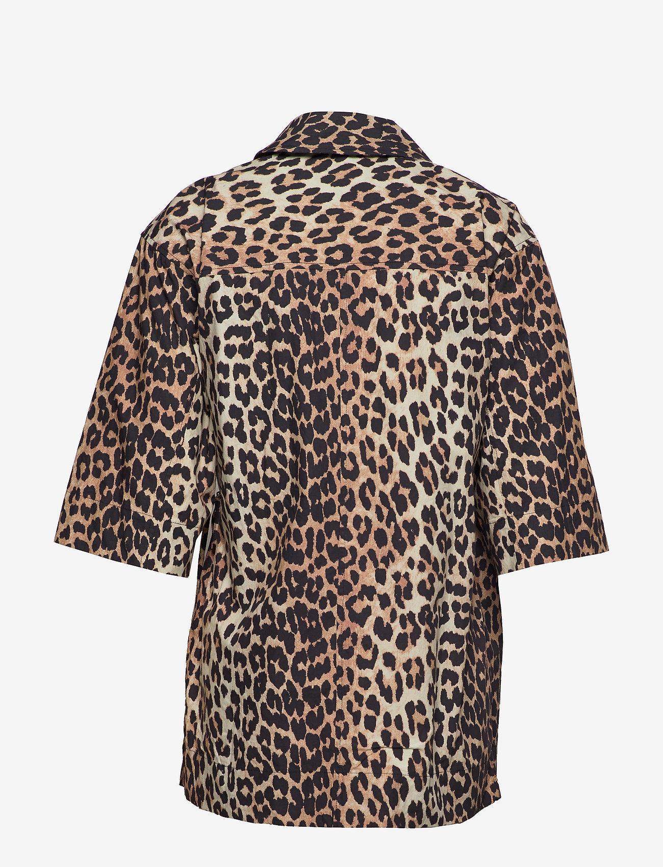 Ganni - Printed Cotton Poplin - overhemden met korte mouwen - leopard - 1