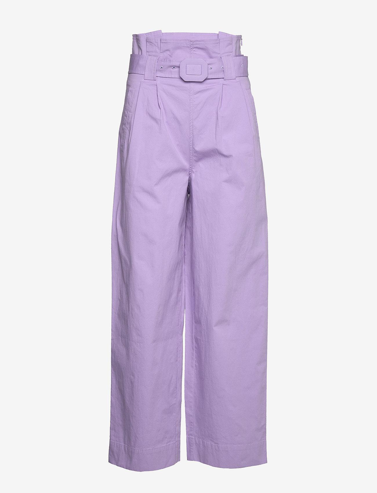 Ganni - Ripstop Cotton Chino - bukser med brede ben - violet tulip - 0