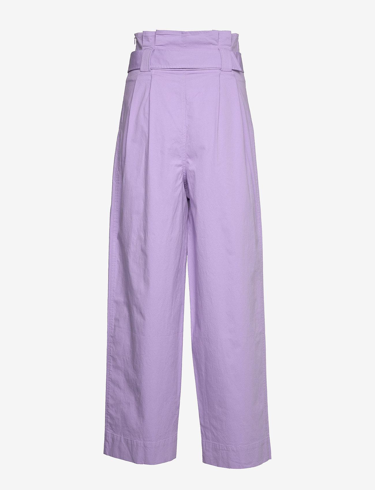 Ganni - Ripstop Cotton Chino - bukser med brede ben - violet tulip - 1