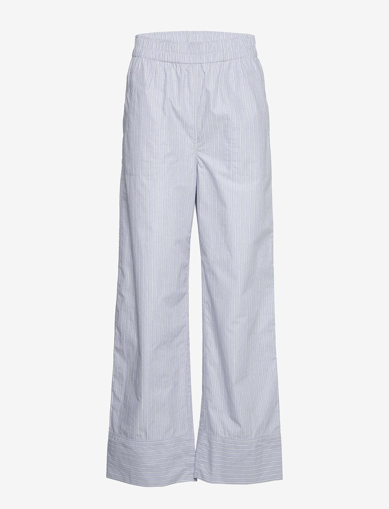 Ganni - Stripe Cotton - casual bukser - brunnera blue - 0