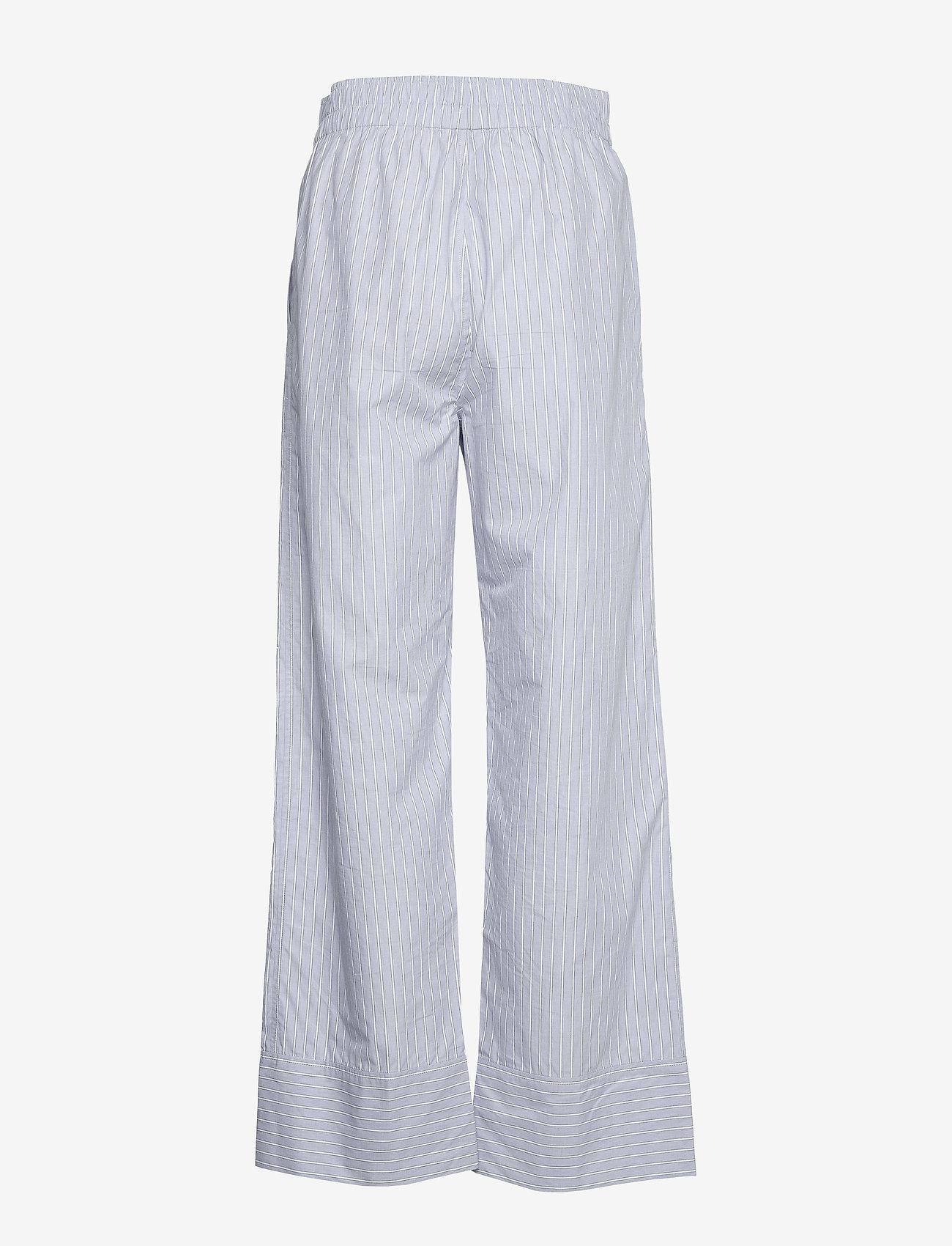 Ganni - Stripe Cotton - casual bukser - brunnera blue - 1