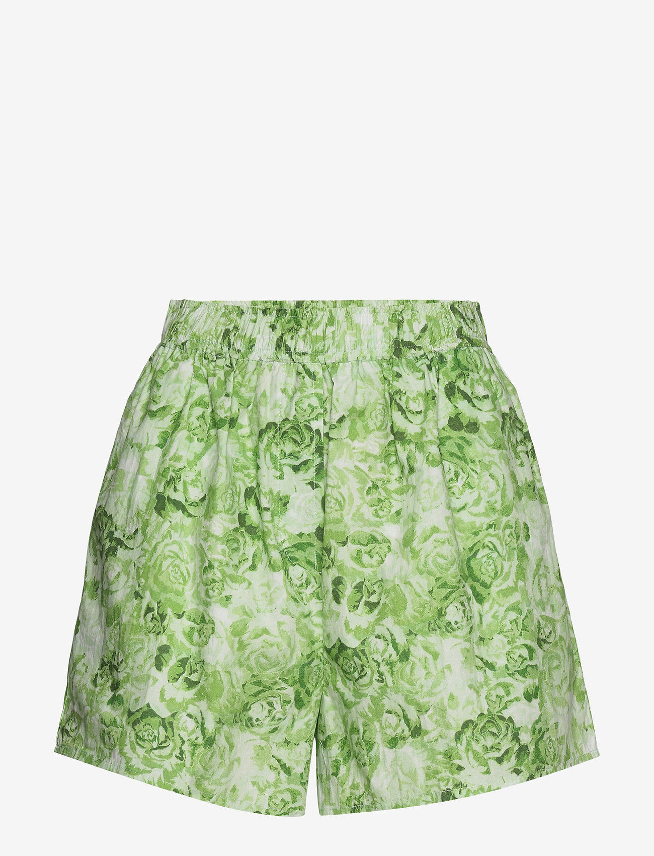 Ganni - Printed Cotton Poplin - casual shorts - island green - 0