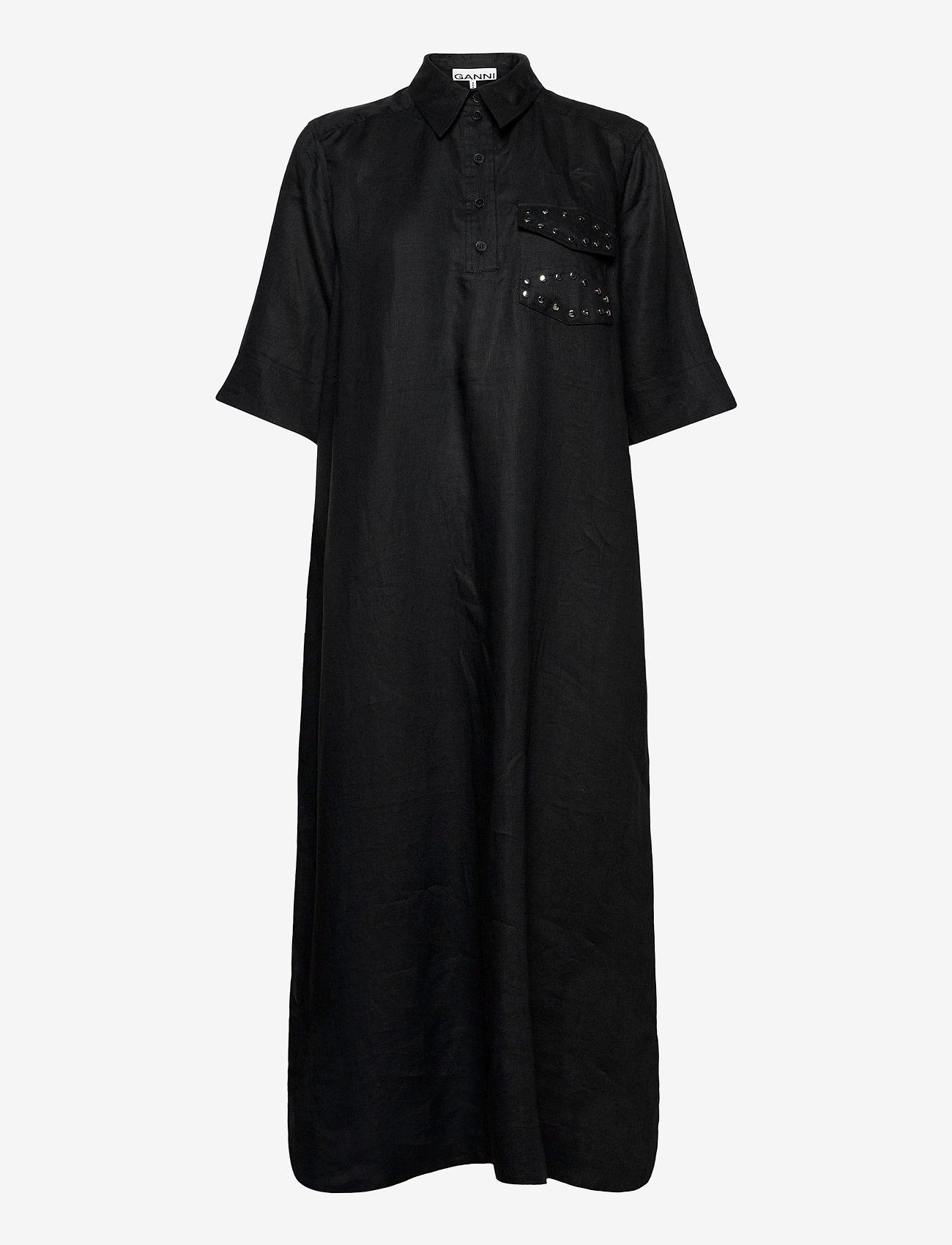 Ganni - Light Linen - skjortekjoler - phantom - 0