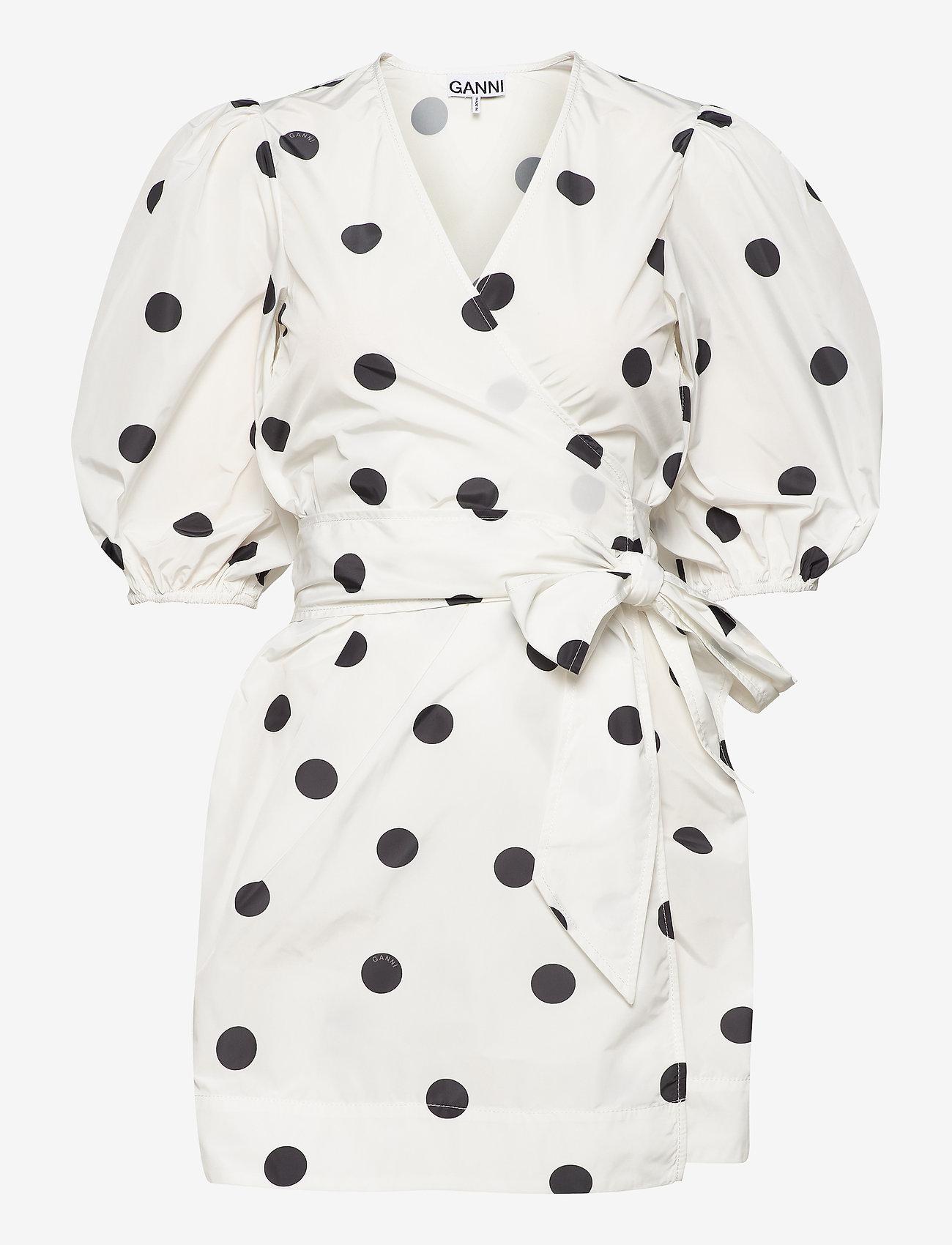 Ganni - Recycled Polyester - korte kjoler - egret - 0