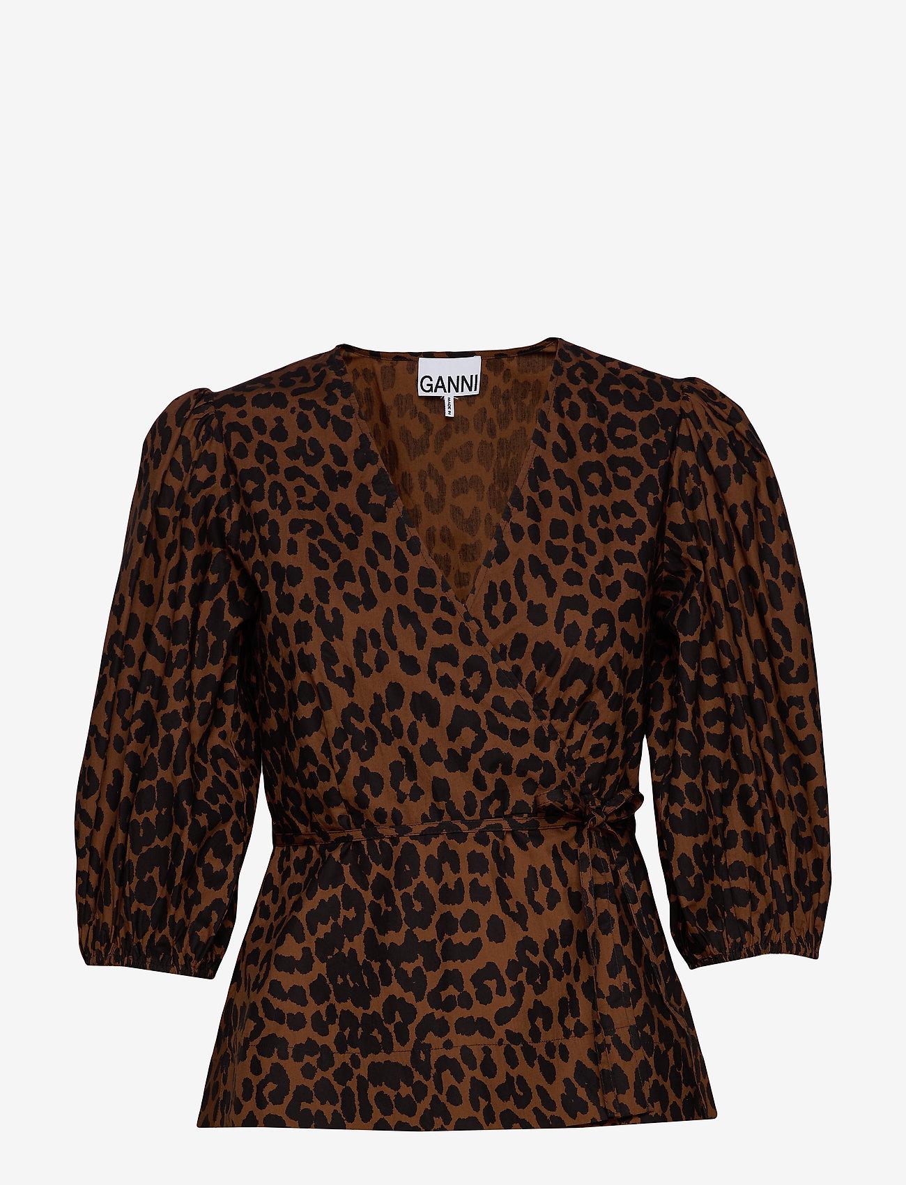 Ganni - Printed Cotton Poplin - long sleeved blouses - toffee - 0