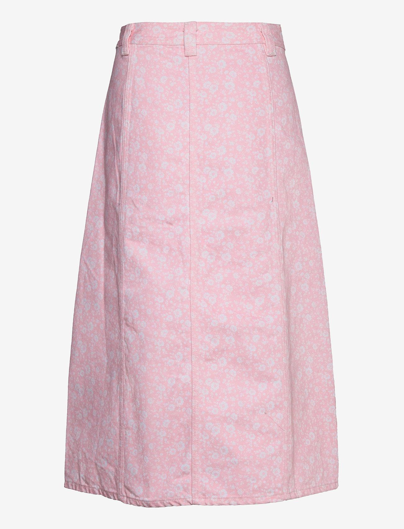 Ganni - Print Denim - midi nederdele - cherry blossom - 1