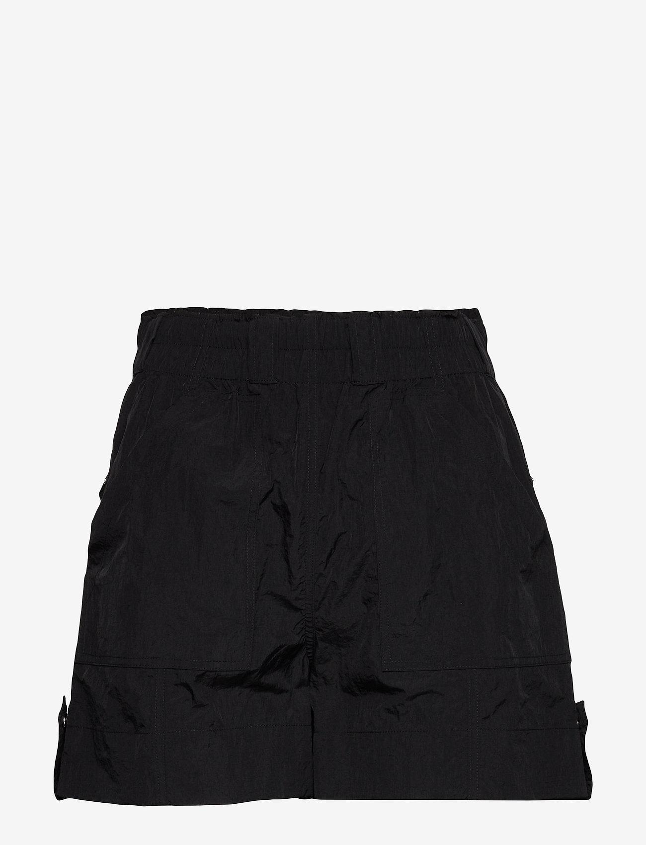 Ganni - Crinkled Tech - shorts casual - black - 0