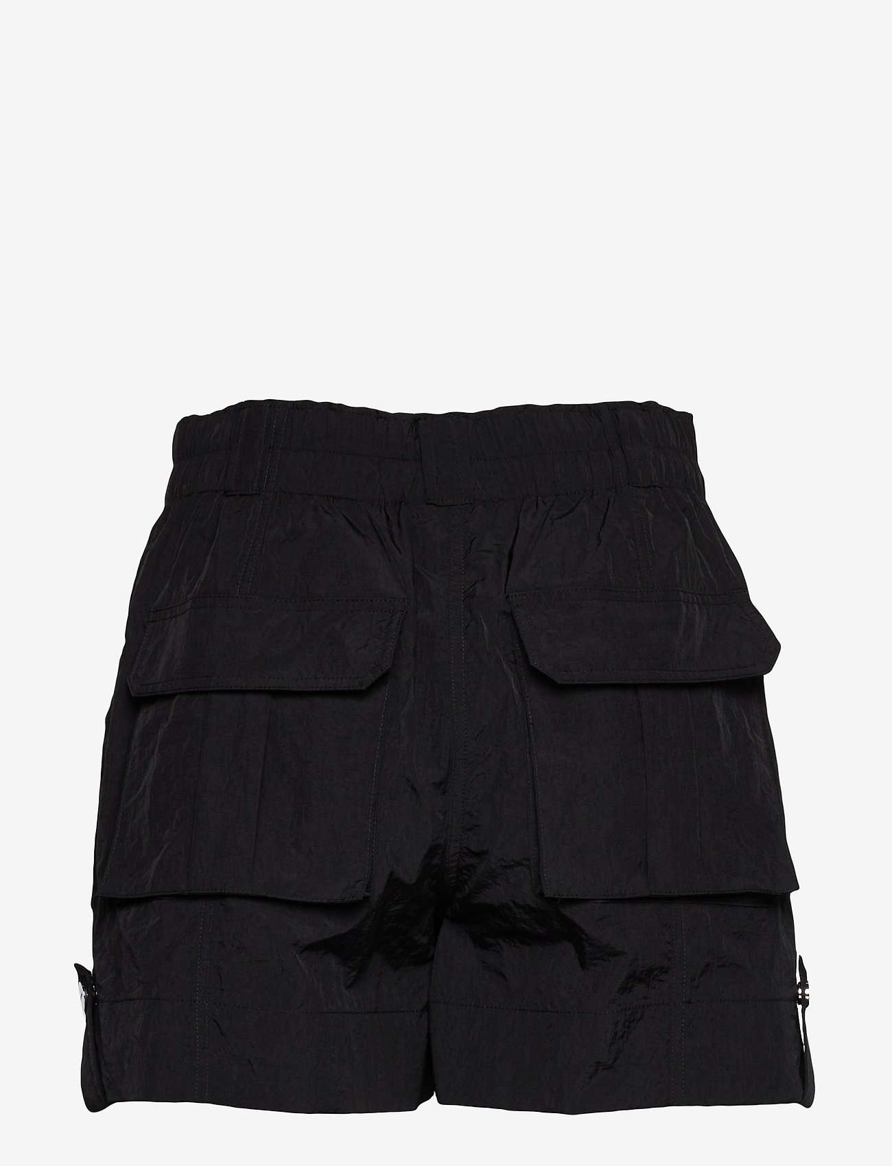 Ganni - Crinkled Tech - shorts casual - black - 1