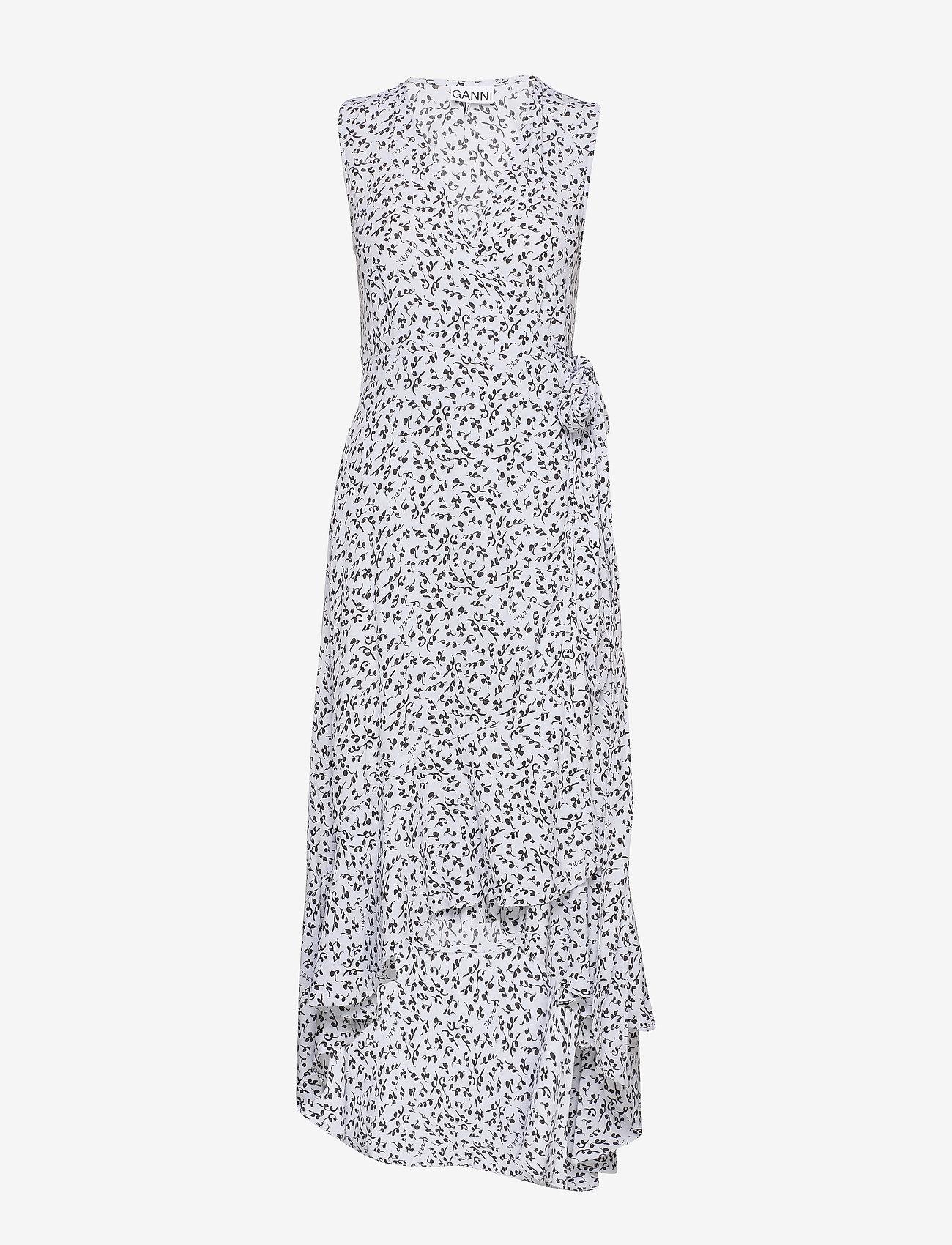 Ganni - Printed Crepe - slå-om-kjoler - heather - 0