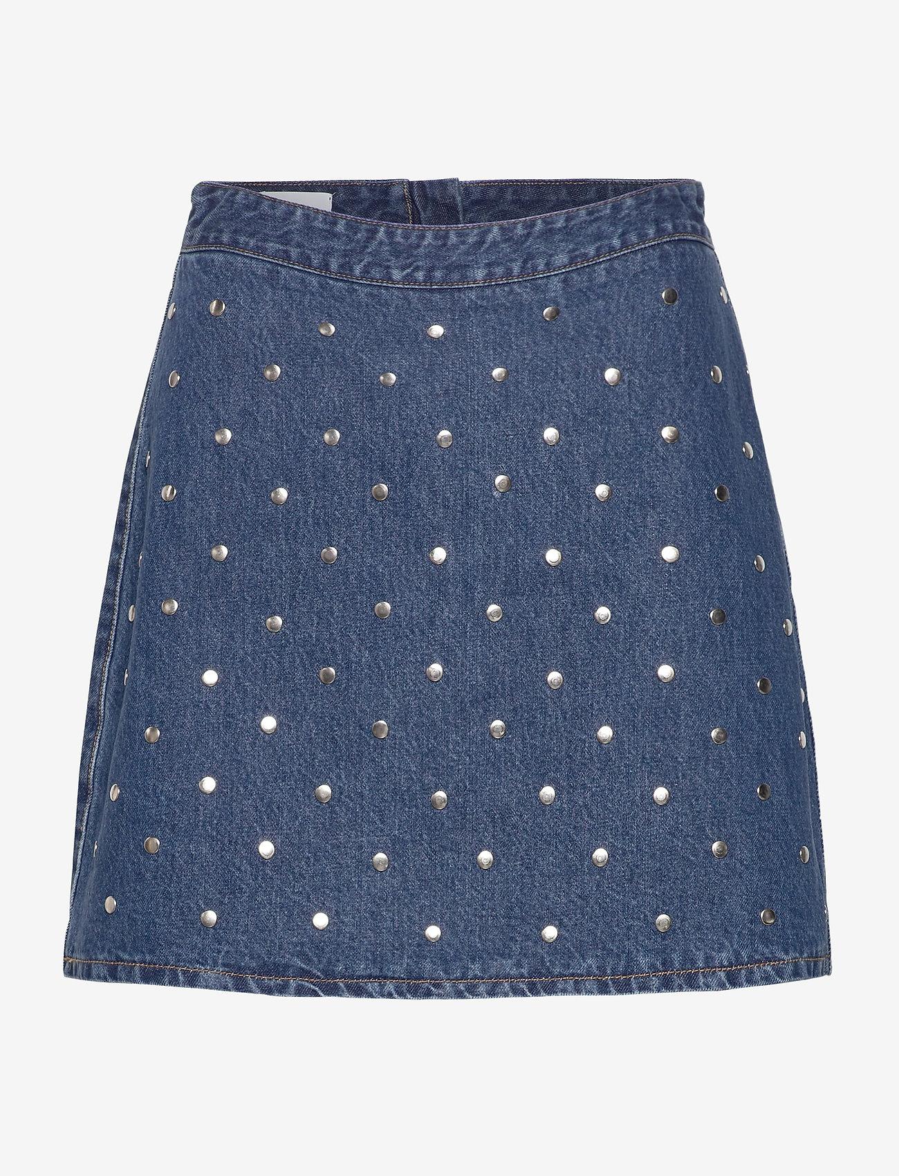 Ganni - Stud Denim - jeansowe spódnice - denim - 0