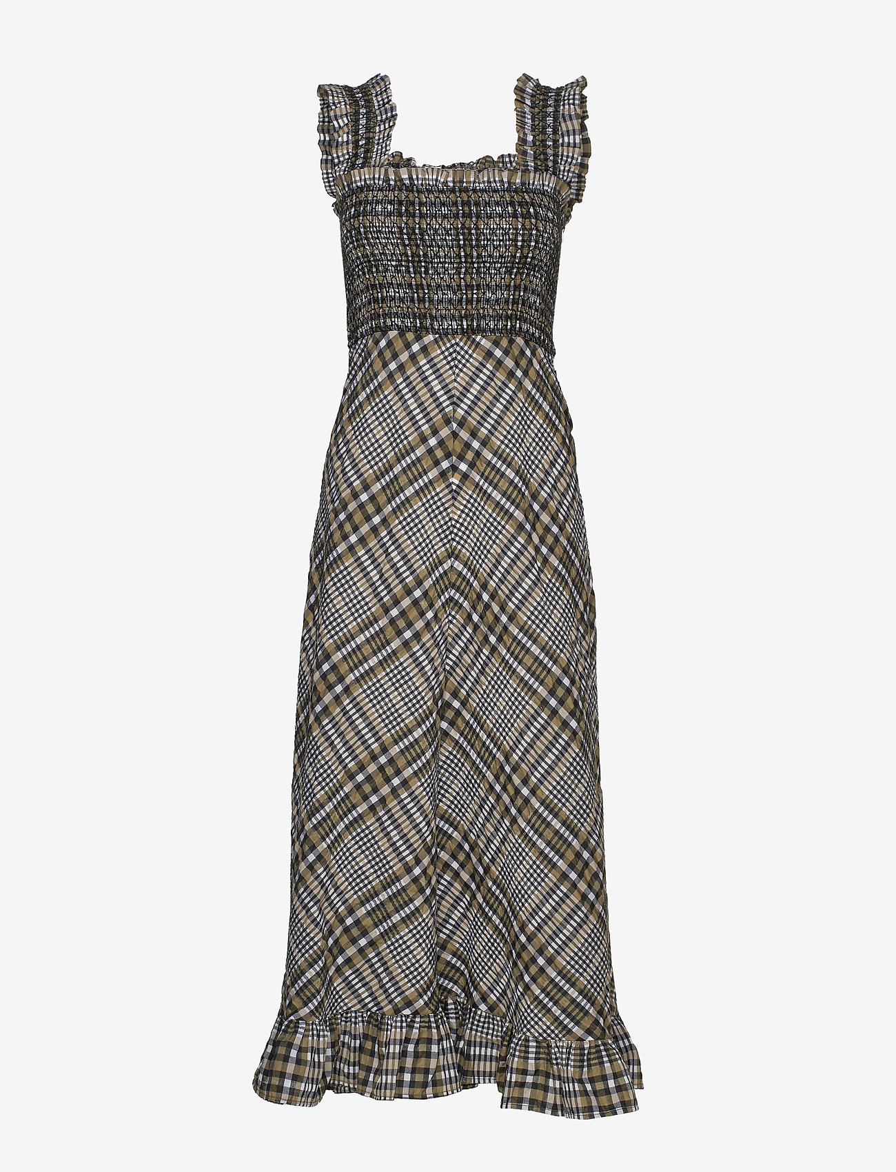 Ganni - Seersucker Check - midi kjoler - kalamata - 0