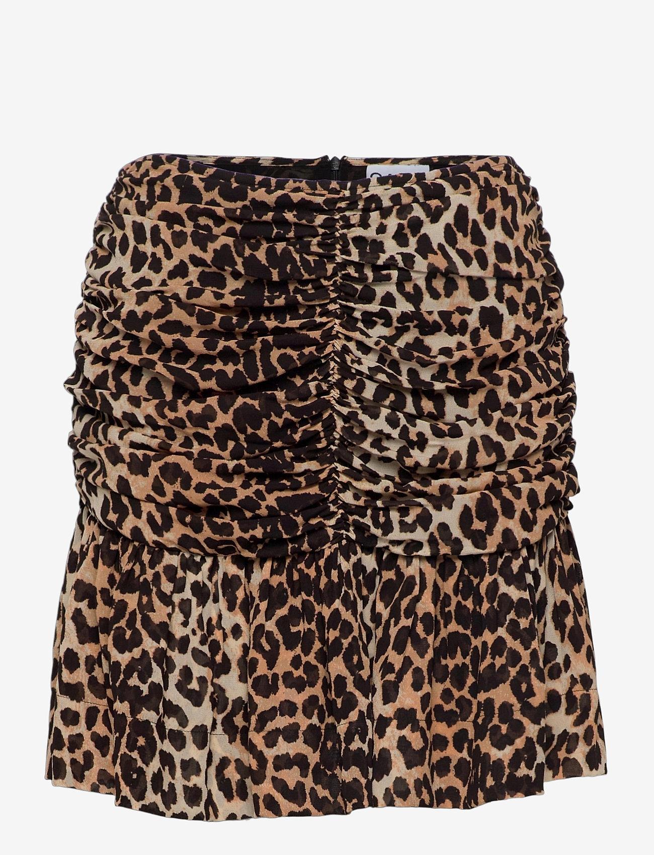 Ganni - Printed Georgette - korte nederdele - leopard - 0