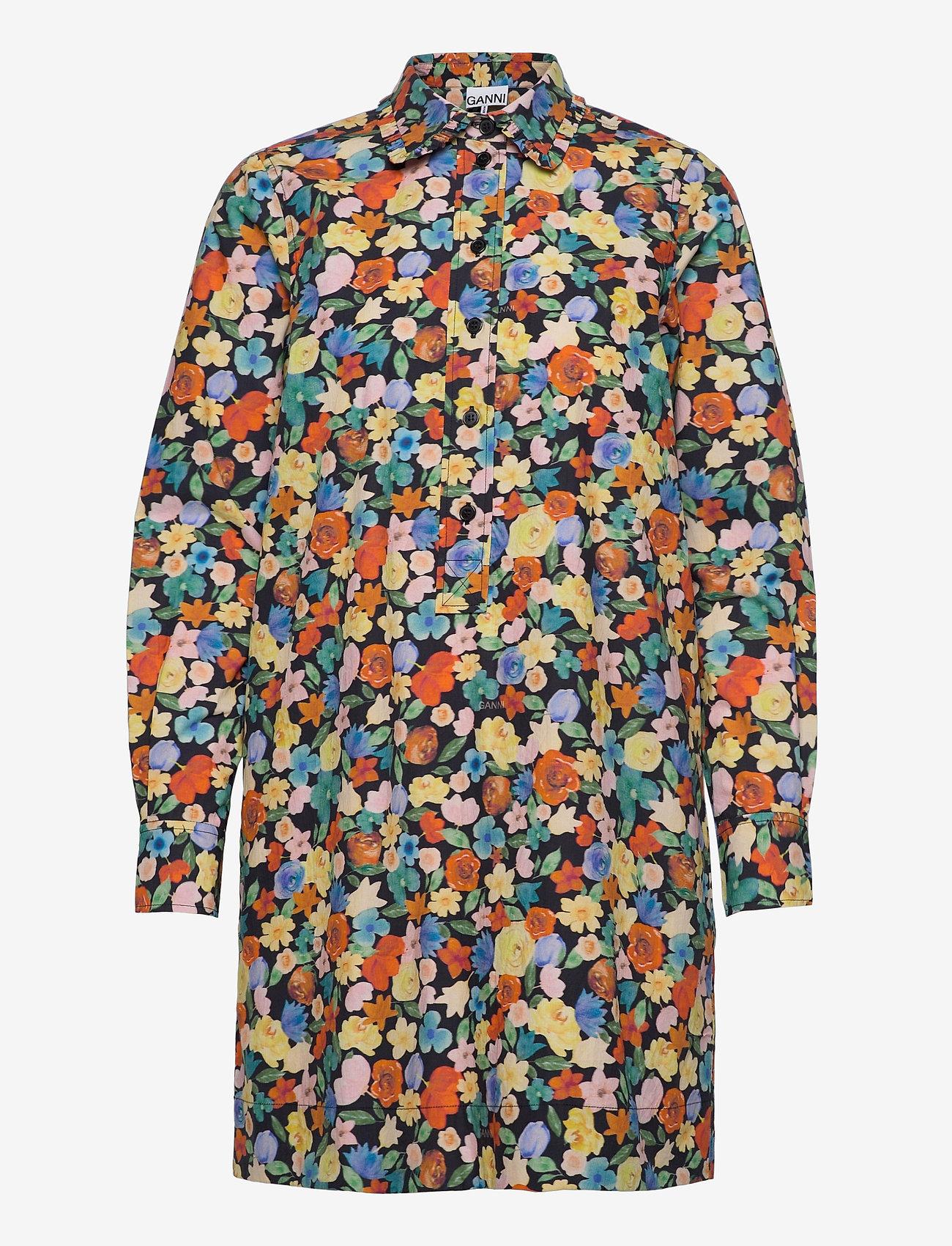 Ganni - Printed Cotton Poplin - skjortekjoler - multicolour - 0