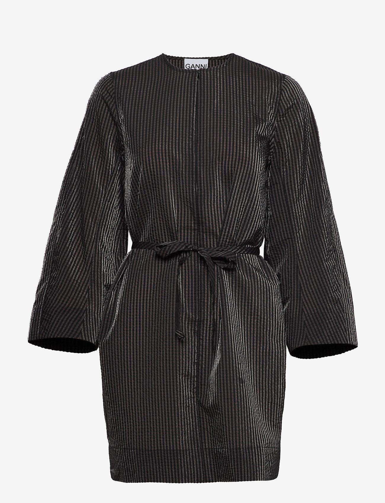 Ganni - Seersucker Check - summer dresses - black - 2