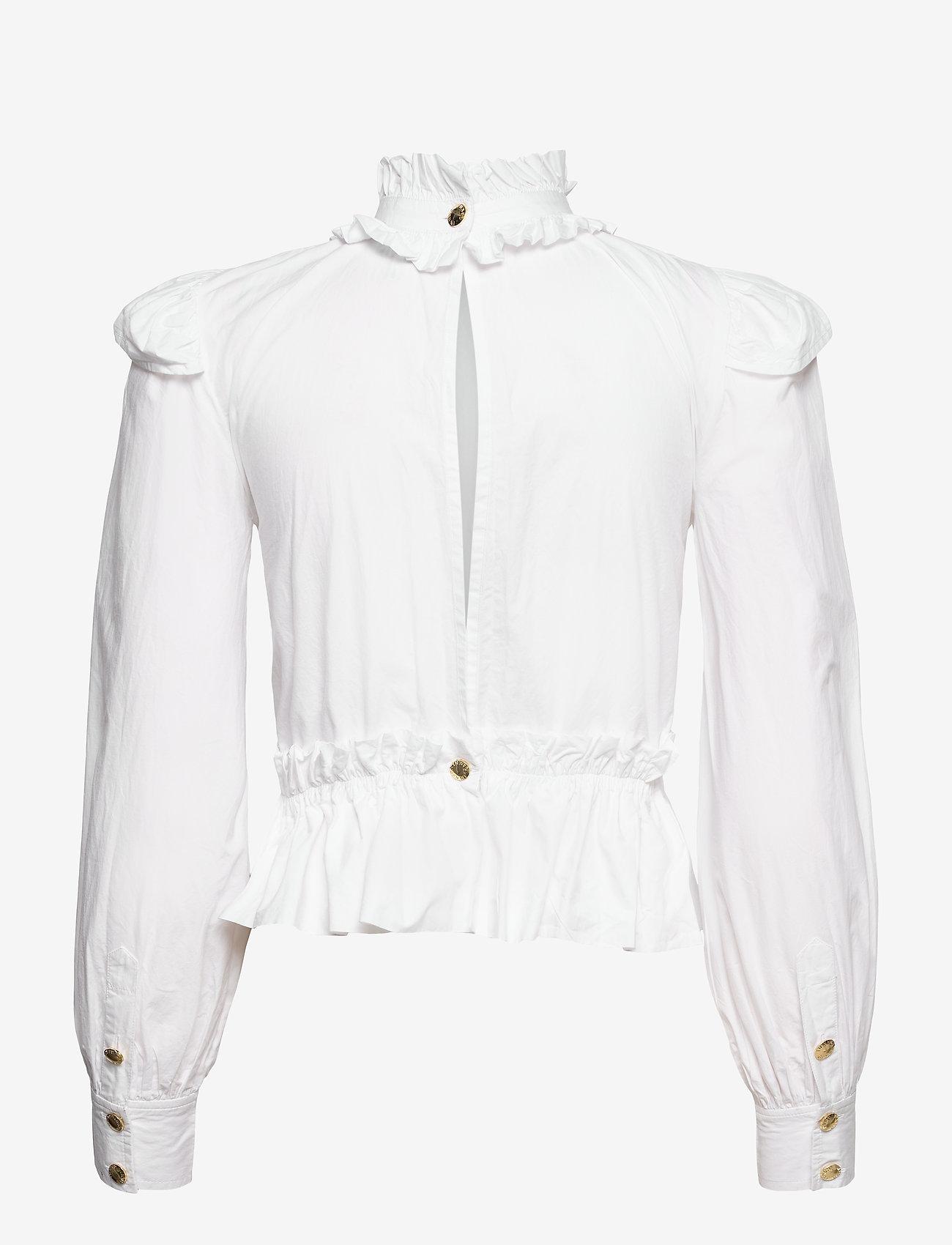 Ganni - Cotton Poplin - langærmede bluser - bright white - 1