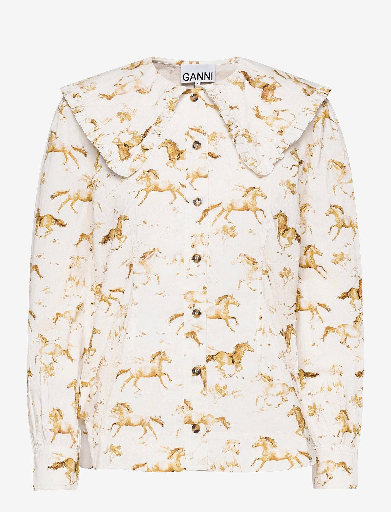 Ganni - Printed Cotton Poplin - langærmede bluser - cognac - 0