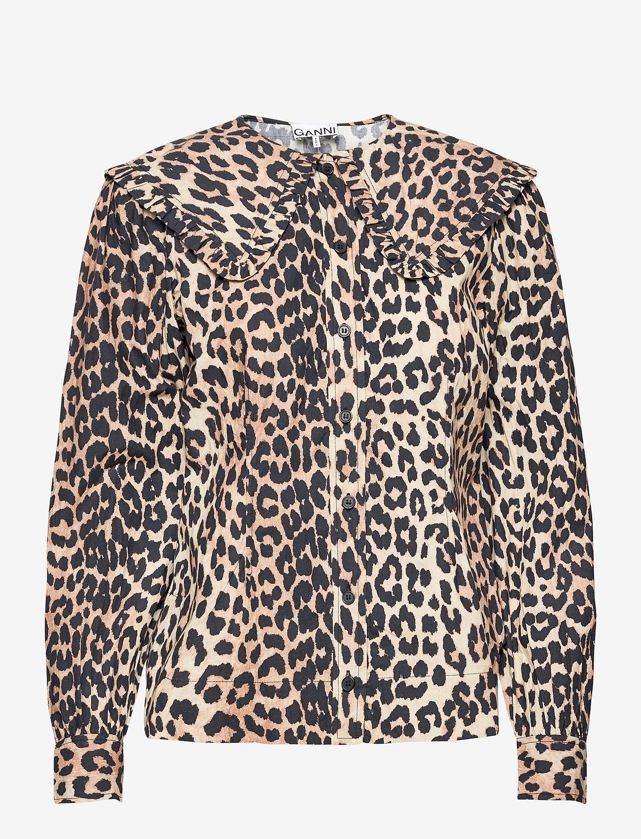 Ganni - Printed Cotton Poplin - langærmede bluser - leopard - 0