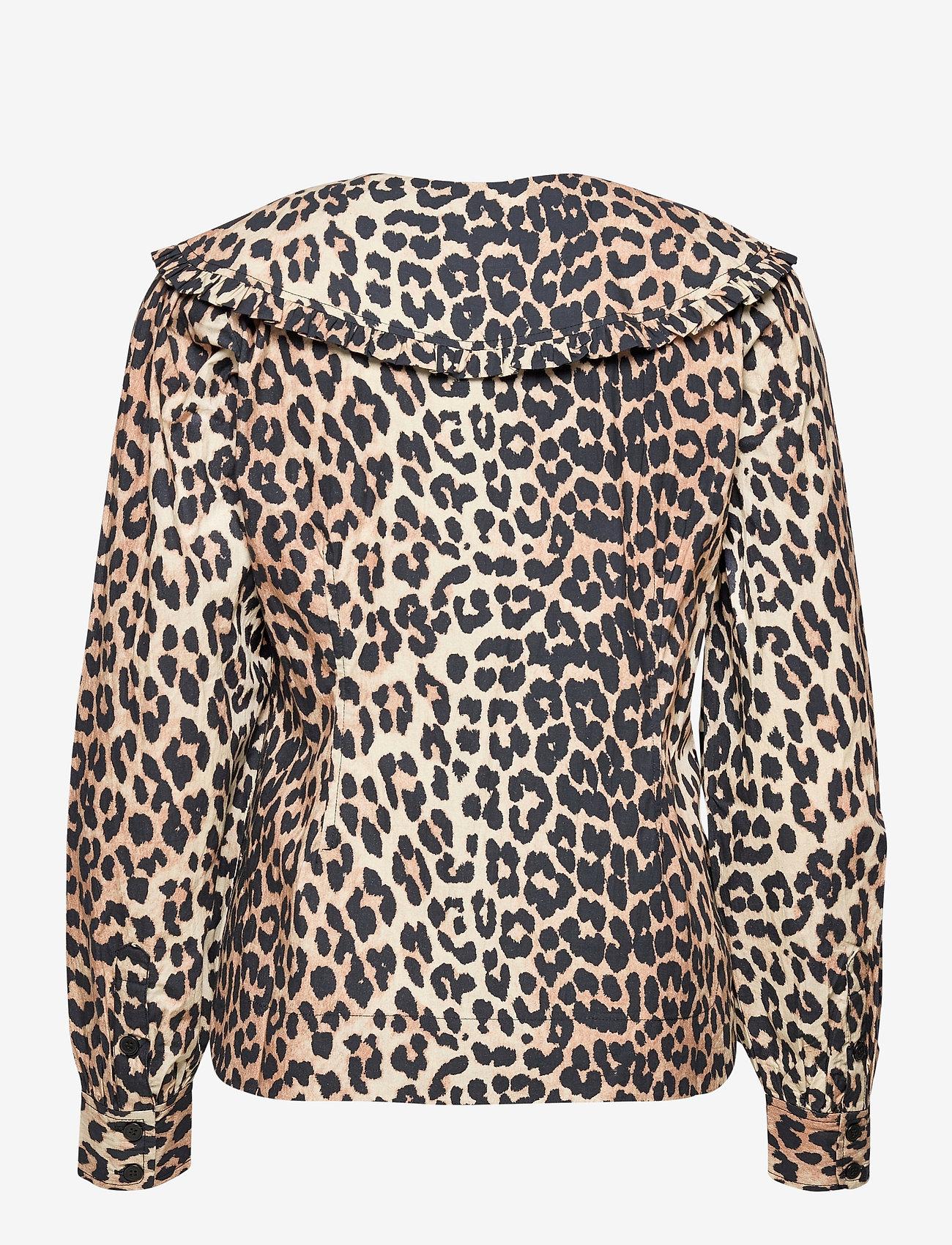 Ganni - Printed Cotton Poplin - langærmede bluser - leopard - 1
