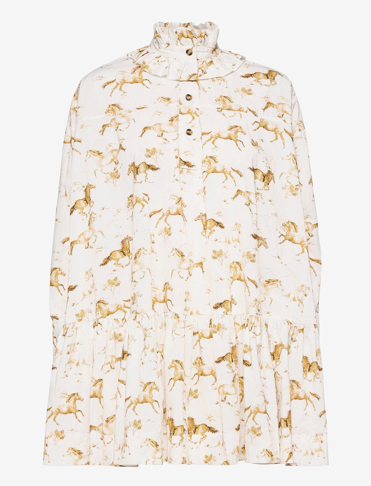 Ganni - Printed Cotton Poplin - alledaagse jurken - cognac - 0