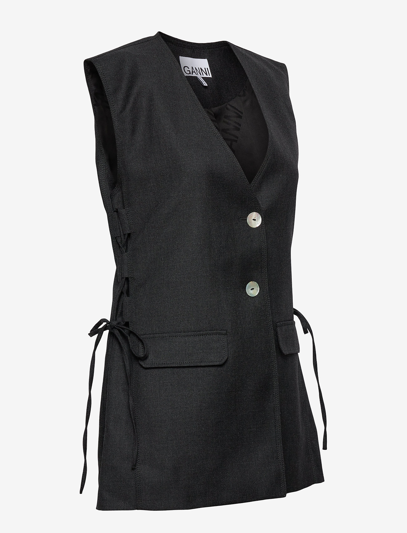 Ganni - Wool Suiting - knitted vests - phantom - 3