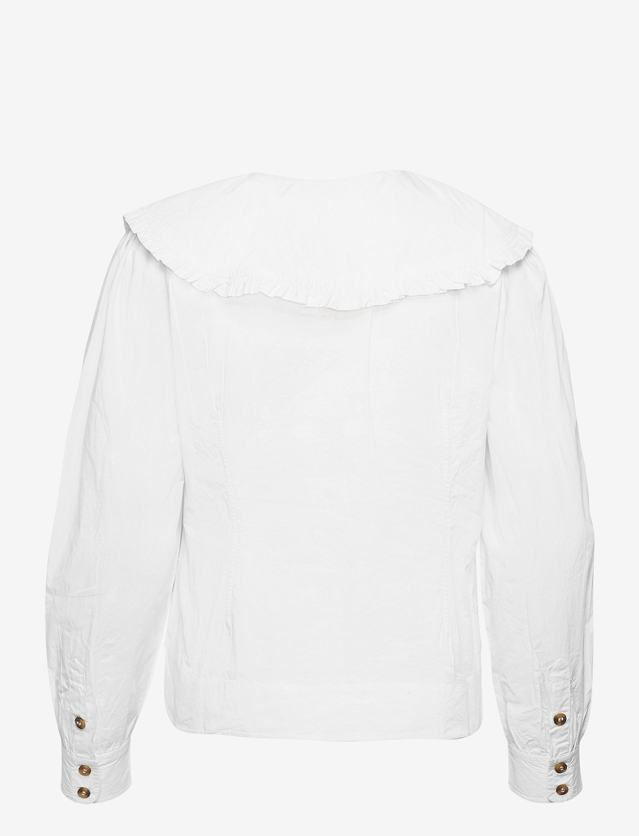 Ganni - Cotton Poplin - langærmede bluser - bright white - 1