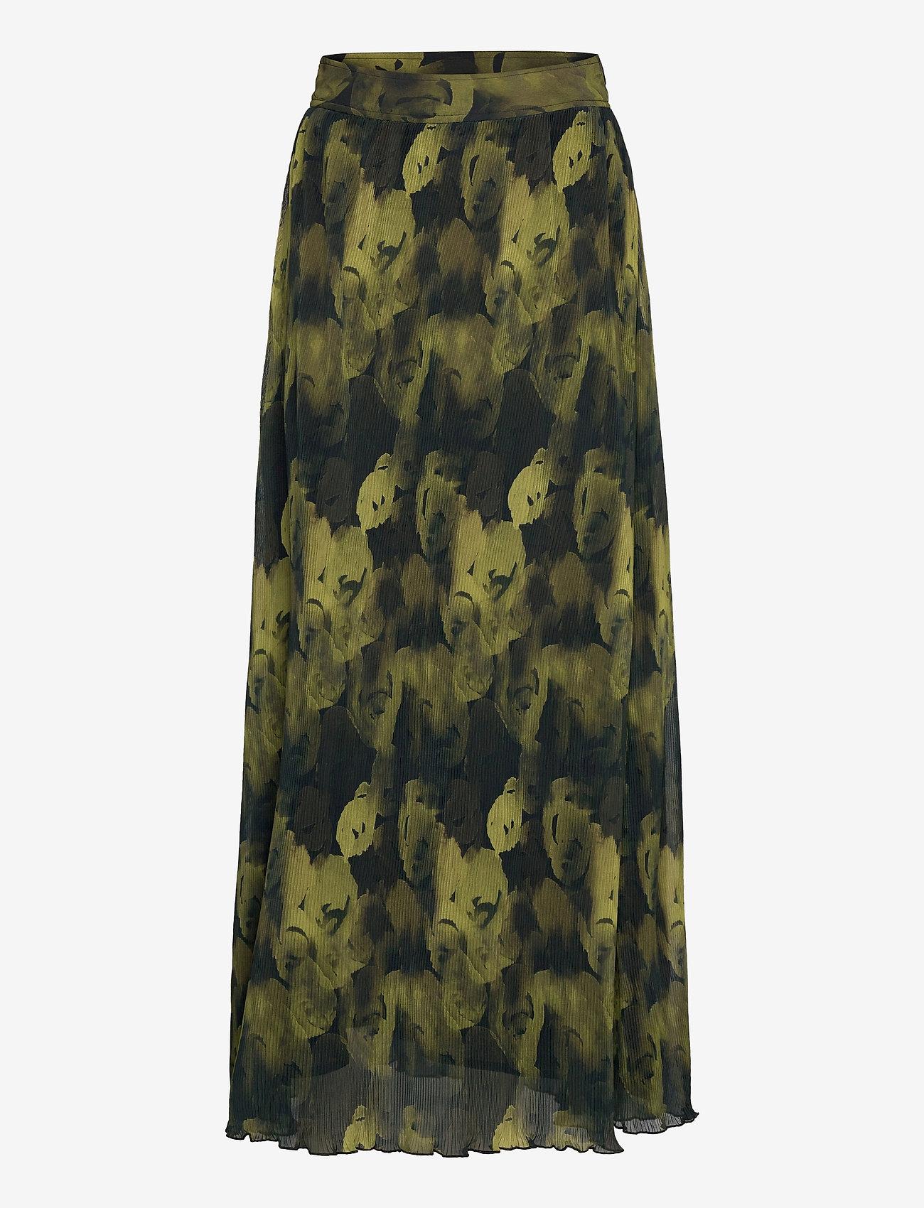 Ganni - Pleated Georgette - midi skirts - olive drab - 0