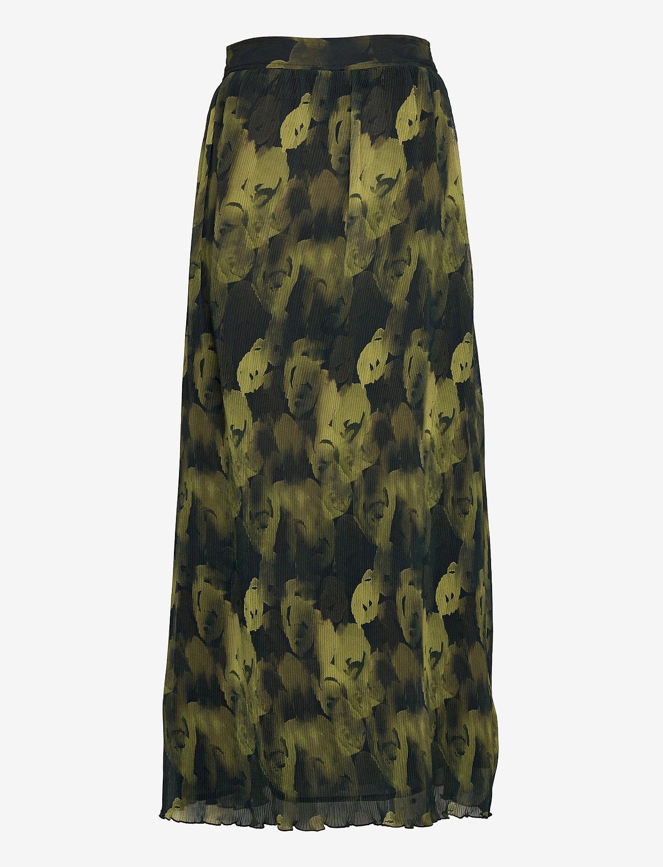 Ganni - Pleated Georgette - midi skirts - olive drab - 1