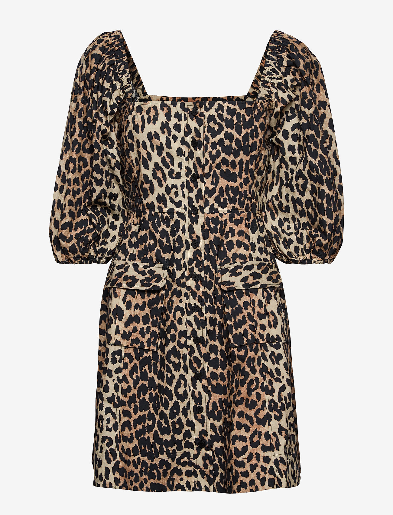 Ganni - Printed Cotton Poplin - sommerkjoler - leopard - 0