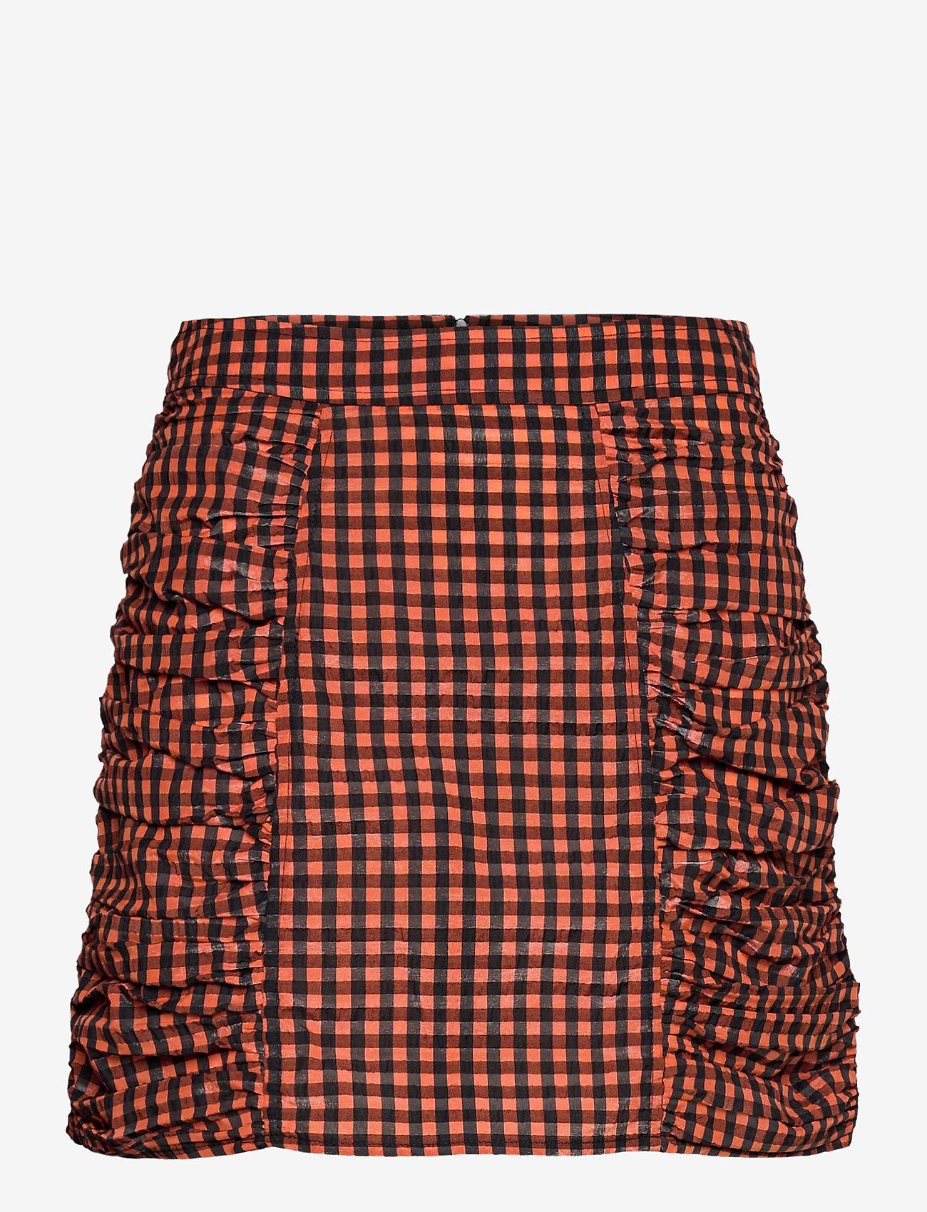 Ganni - Seersucker check - short skirts - flame - 0