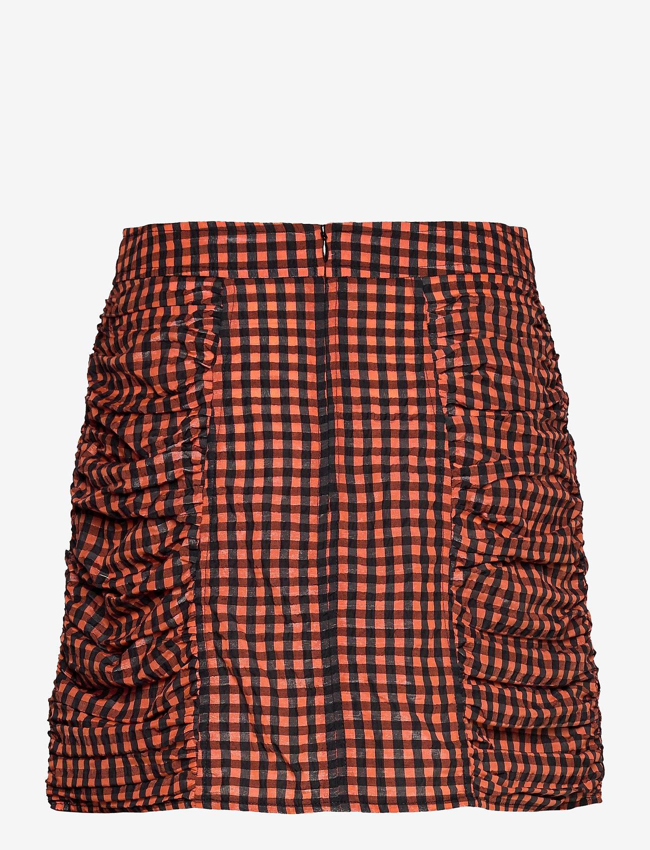 Ganni - Seersucker check - short skirts - flame - 1