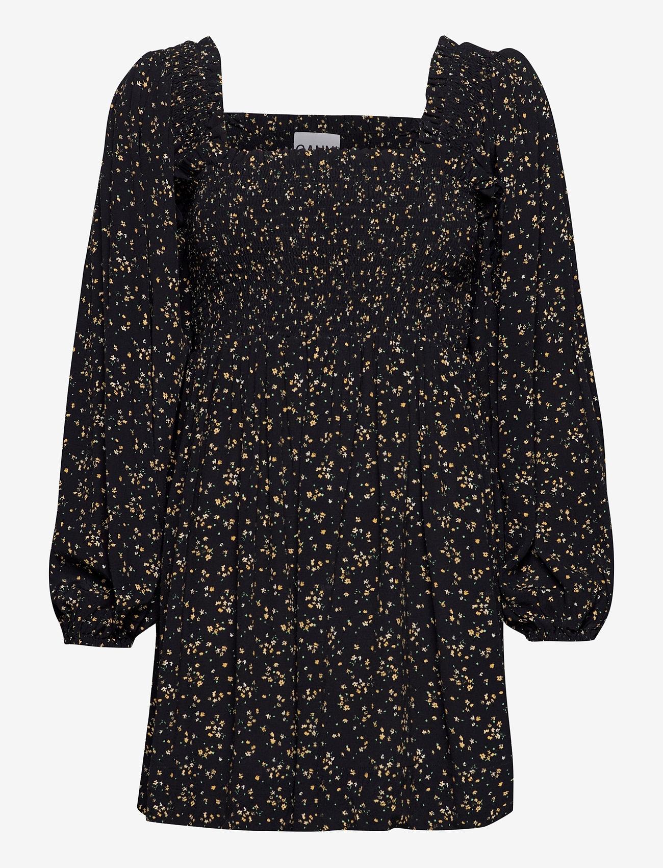 Ganni - Printed Crepe - summer dresses - black - 0