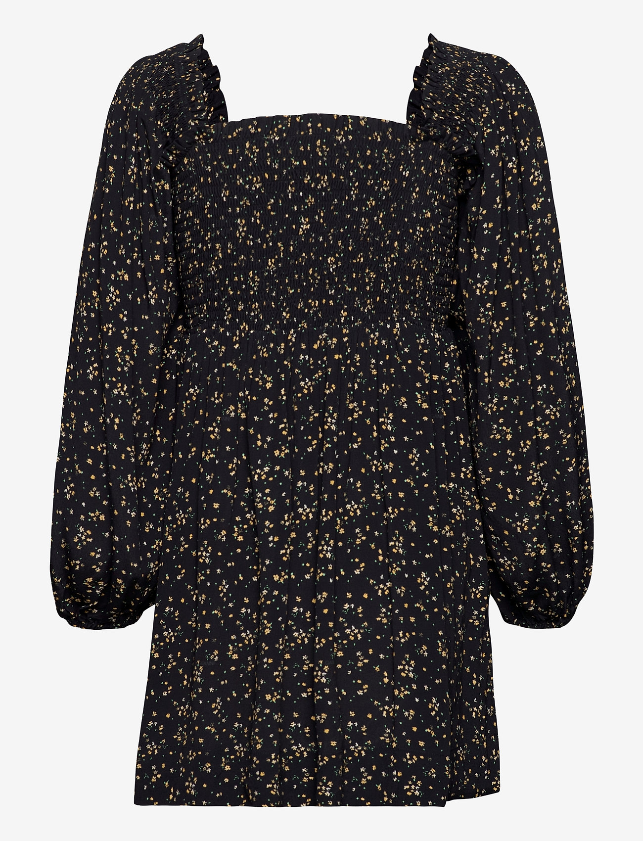 Ganni - Printed Crepe - summer dresses - black - 1