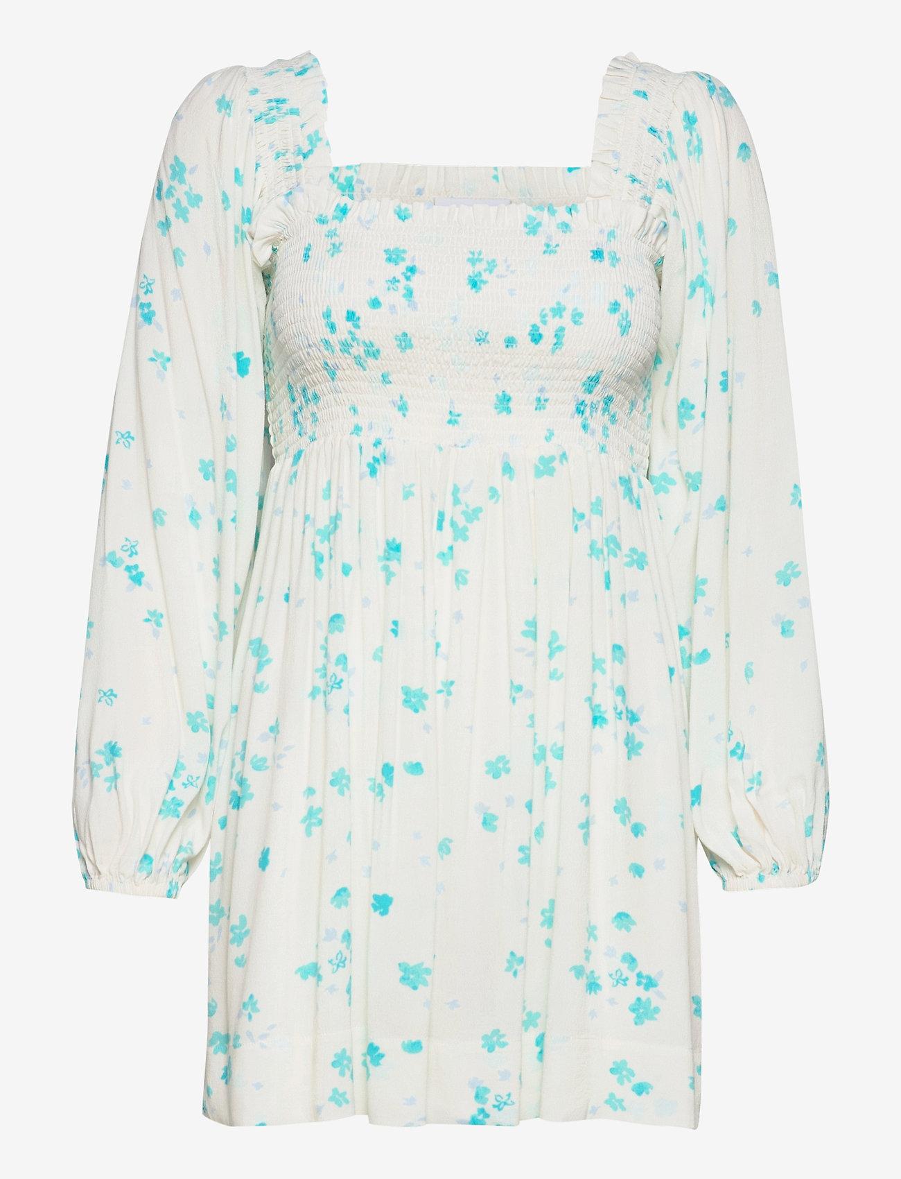 Ganni - Printed Crepe - summer dresses - egret - 0