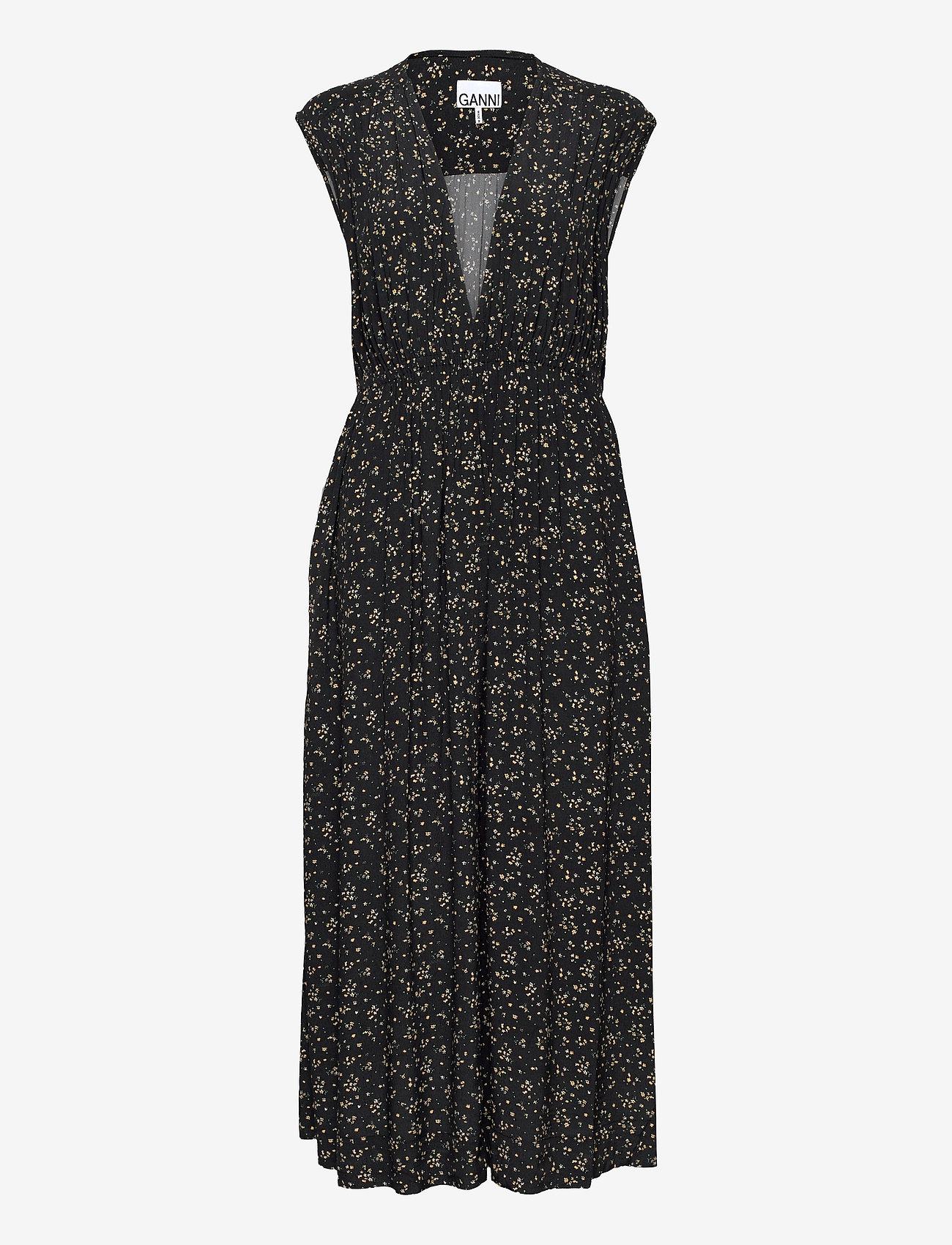 Ganni - Sleeveless Dress - sommerkjoler - black - 0