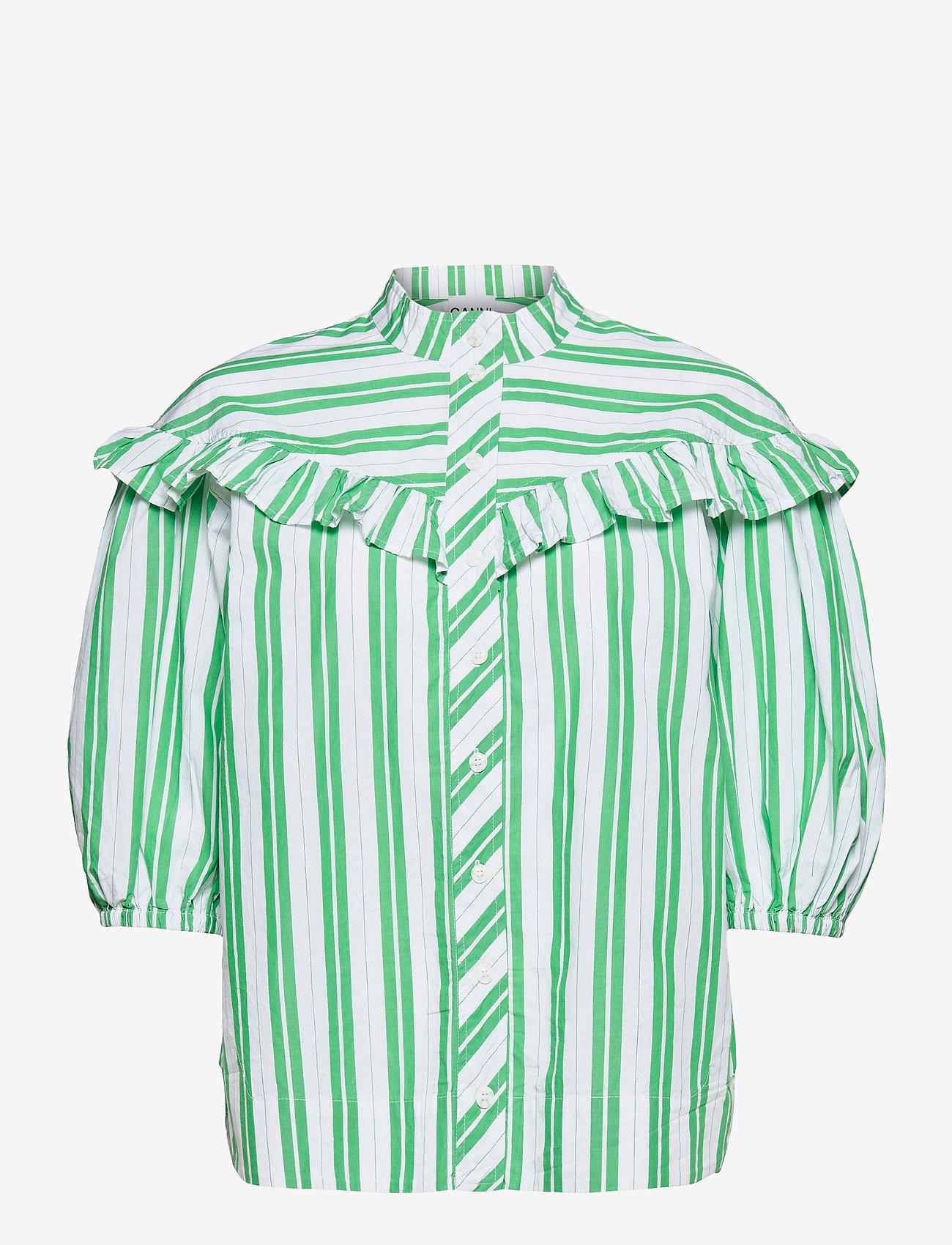 Ganni - Stripe Cotton - kortærmede skjorter - kelly green - 0