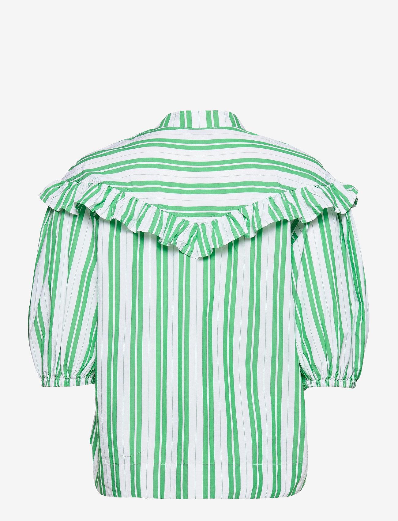 Ganni - Stripe Cotton - kortærmede skjorter - kelly green - 1