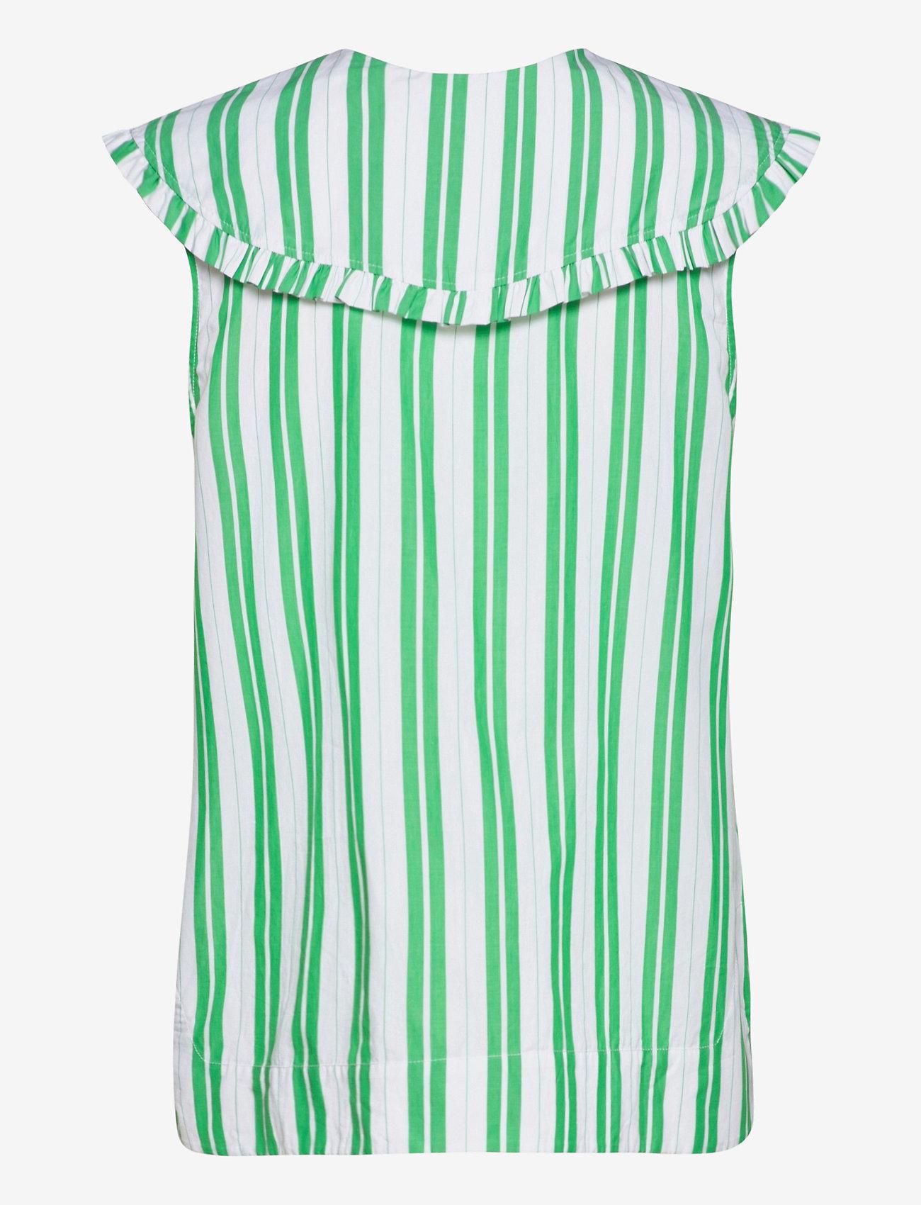 Ganni - Stripe Cotton - Ærmeløse bluser - kelly green - 1