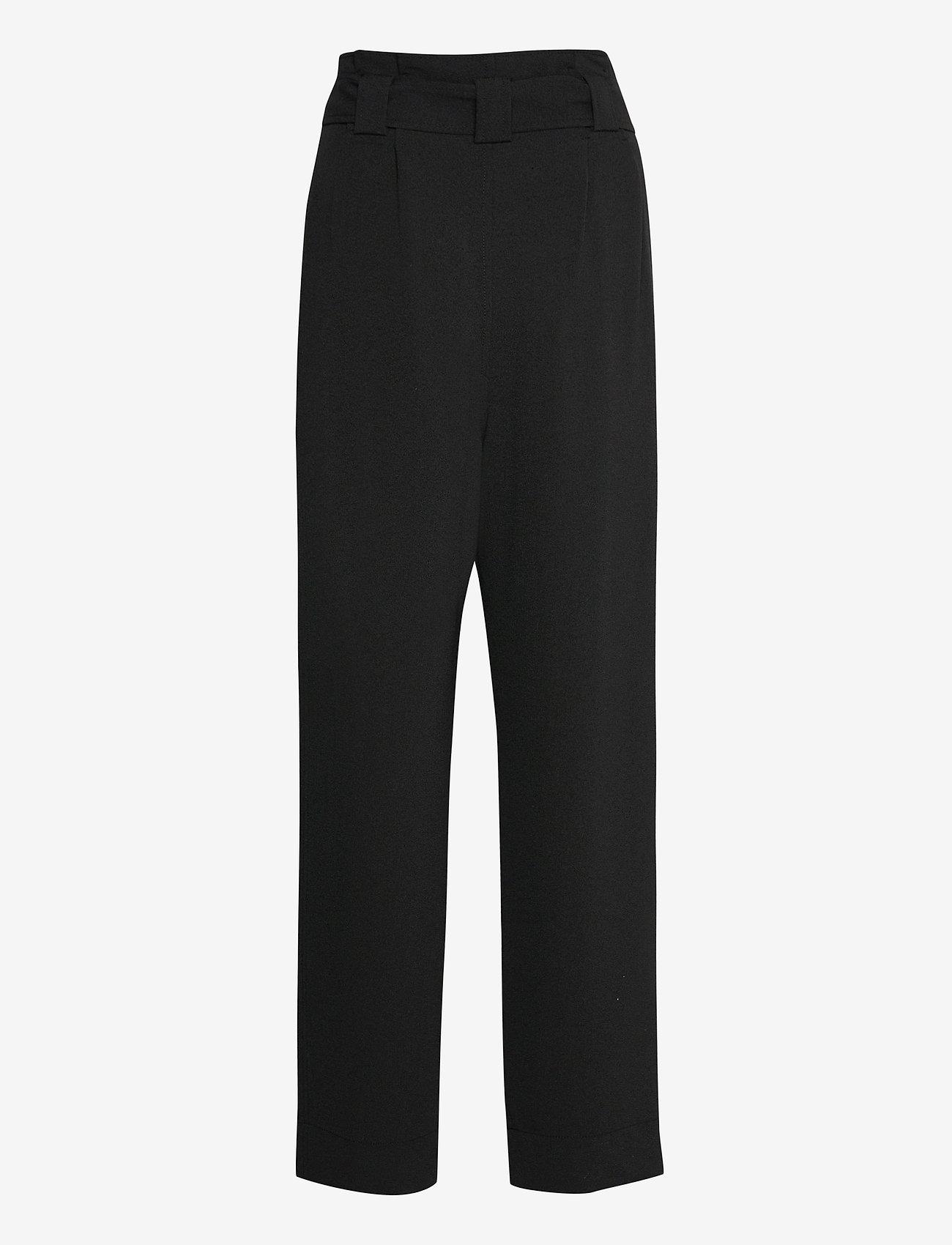 Ganni - Heavy Crepe - bukser med brede ben - black - 1