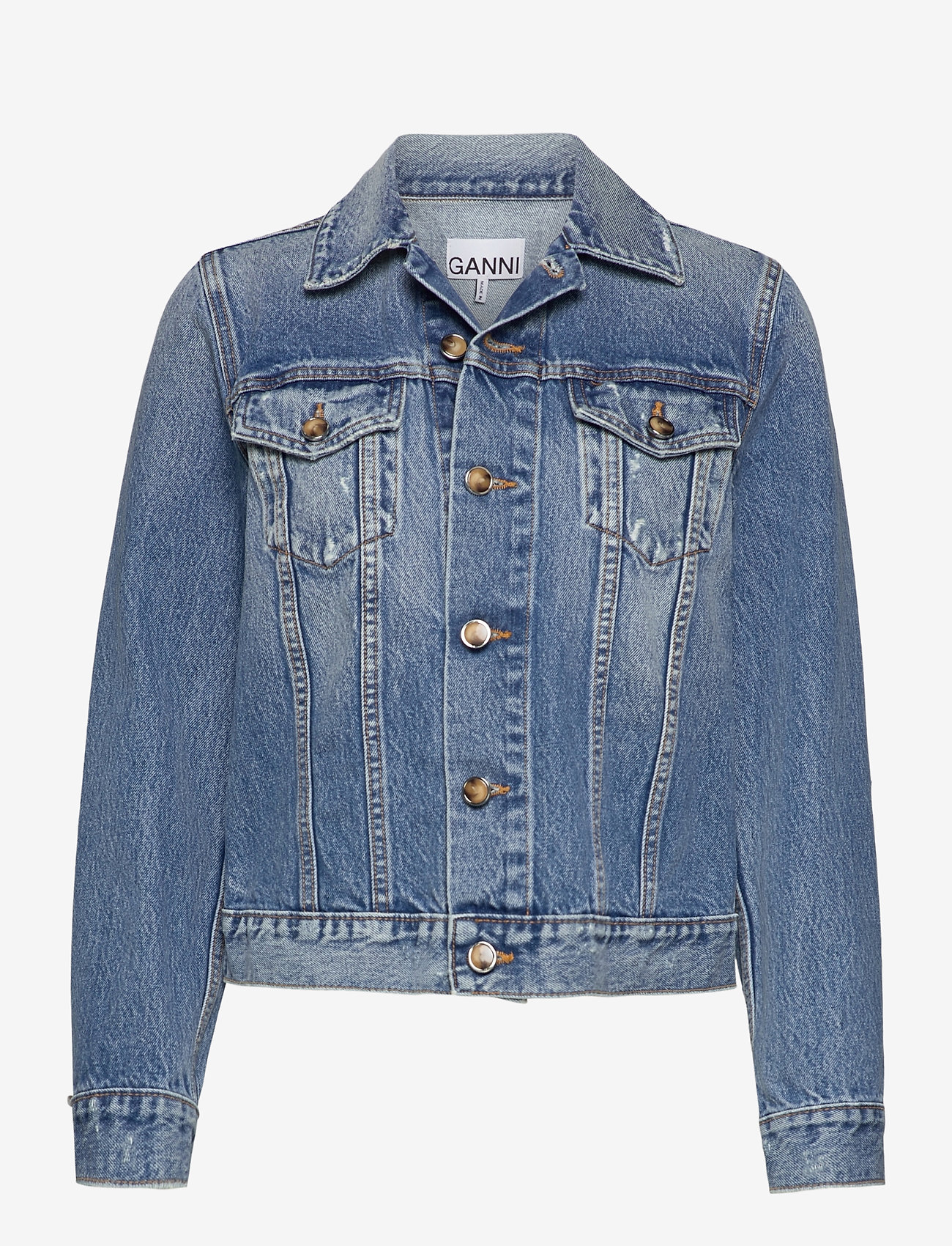 Ganni - Overwashed Denim - denimjakker - denim - 0