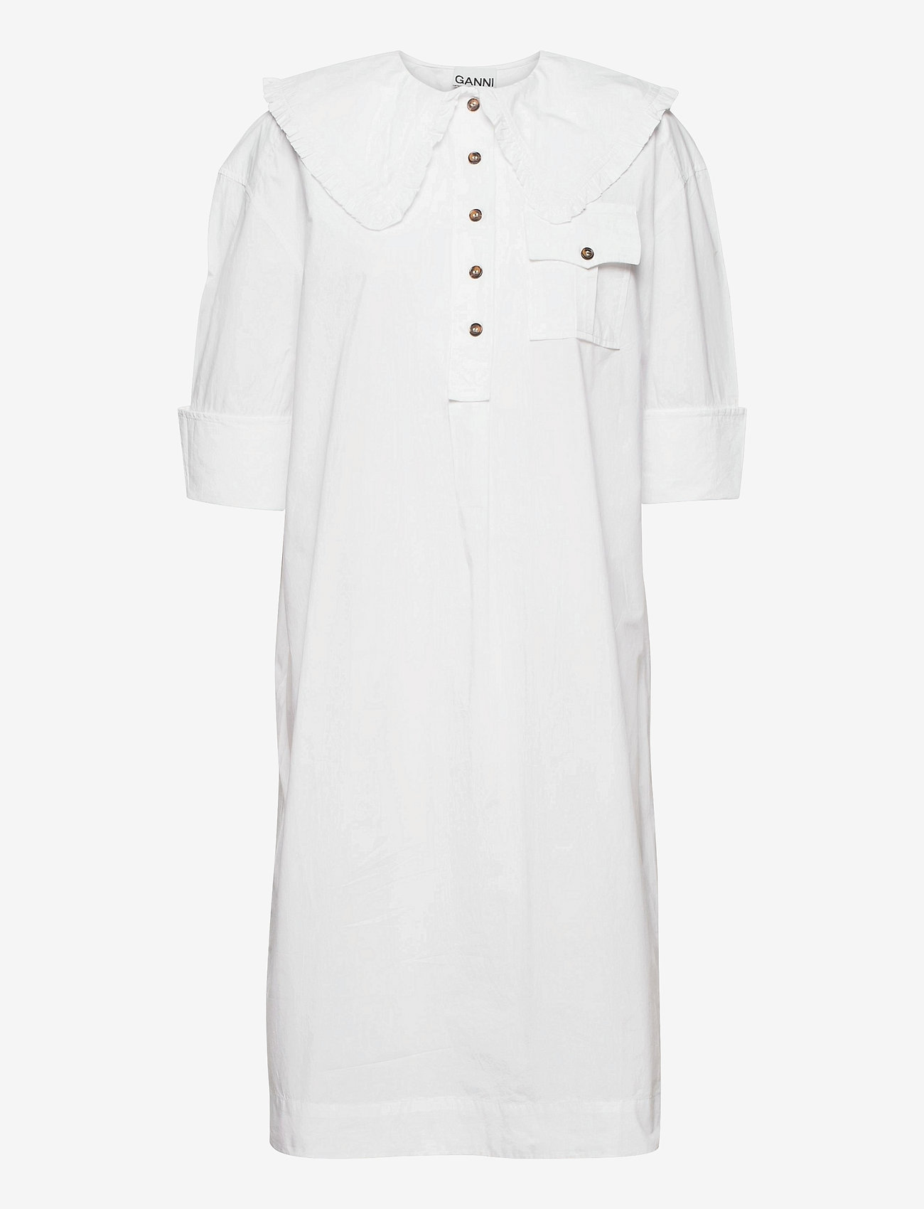 Ganni - Cotton Poplin - sommerkjoler - bright white - 0
