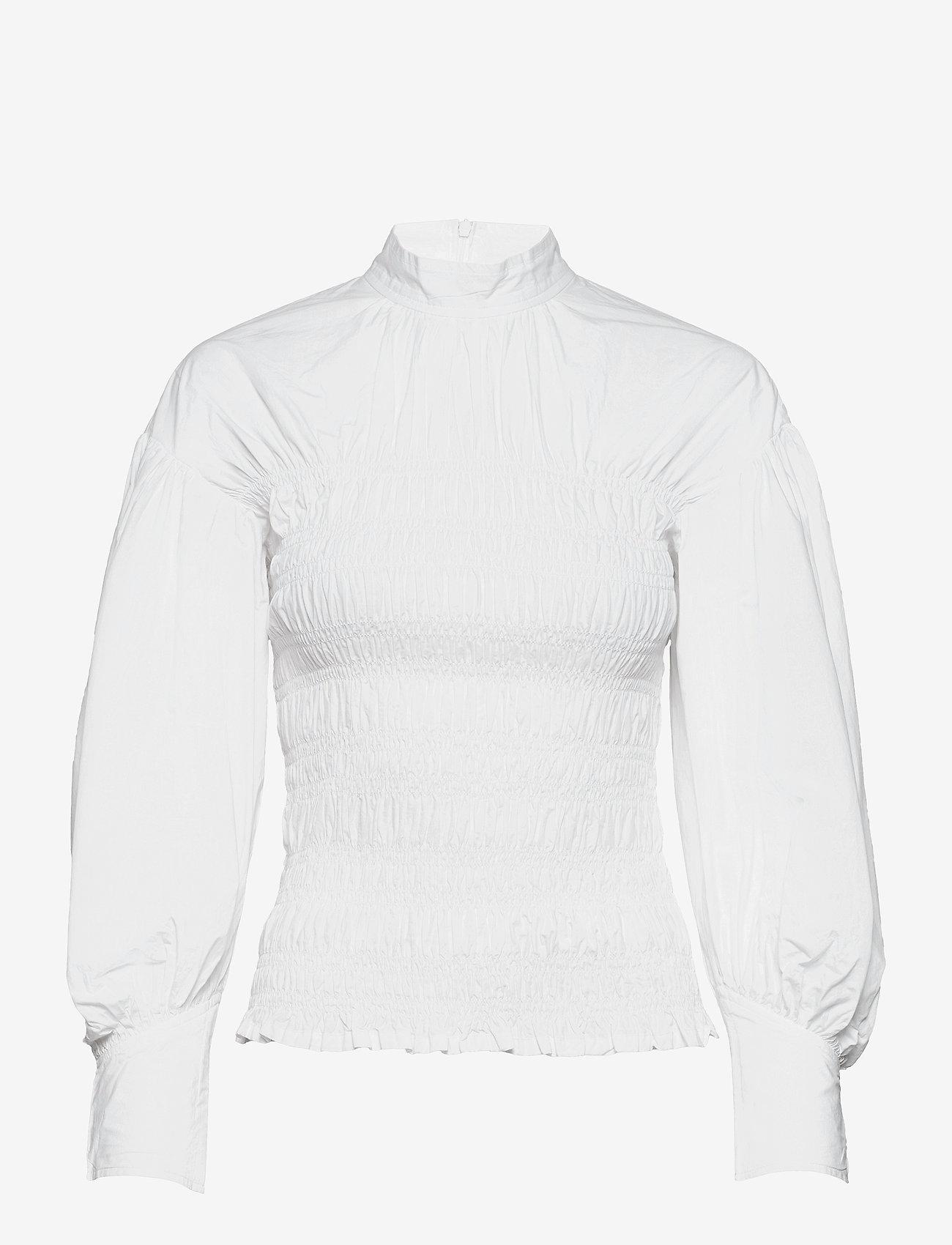 Ganni - Smock Blouse - langærmede bluser - bright white - 0