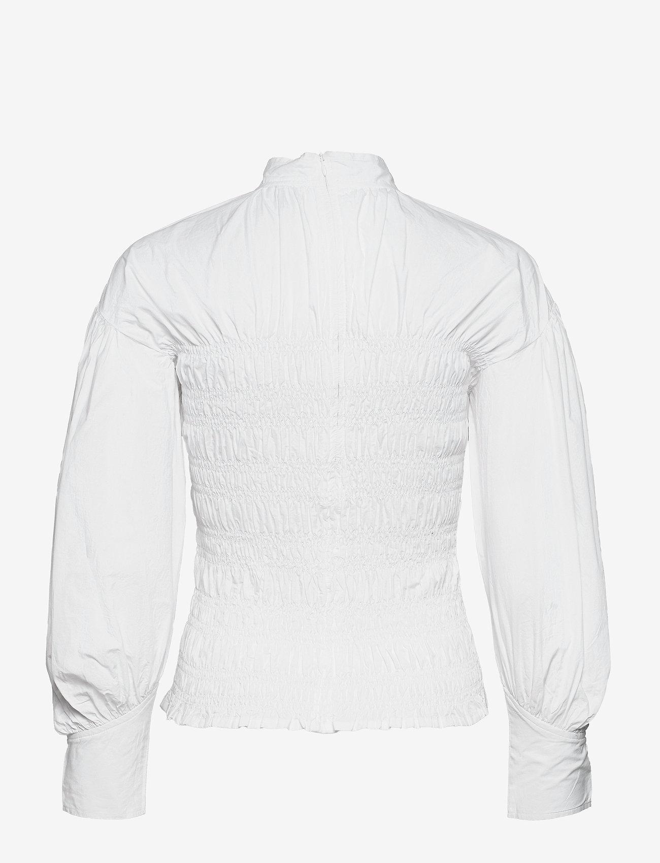Ganni - Smock Blouse - langærmede bluser - bright white - 1