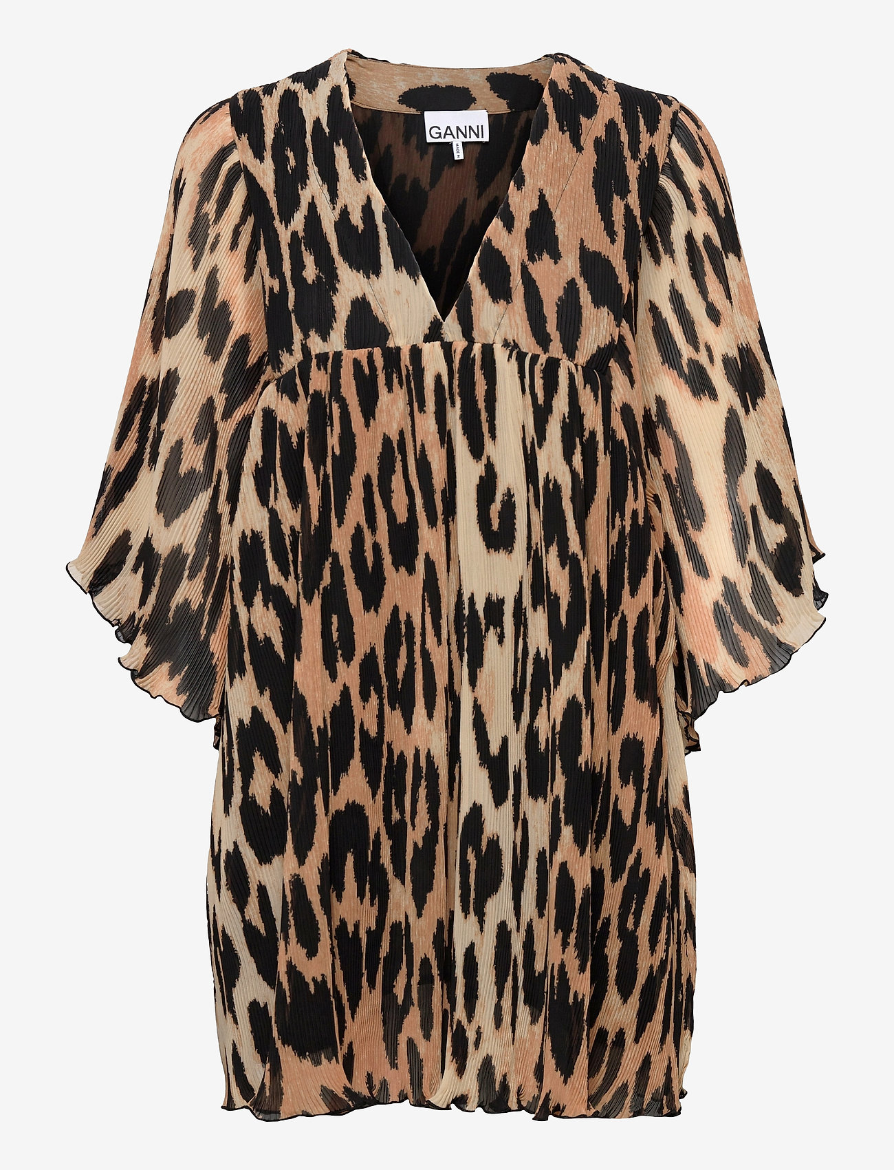 Ganni - Pleated Georgette - party dresses - maxi leopard - 0