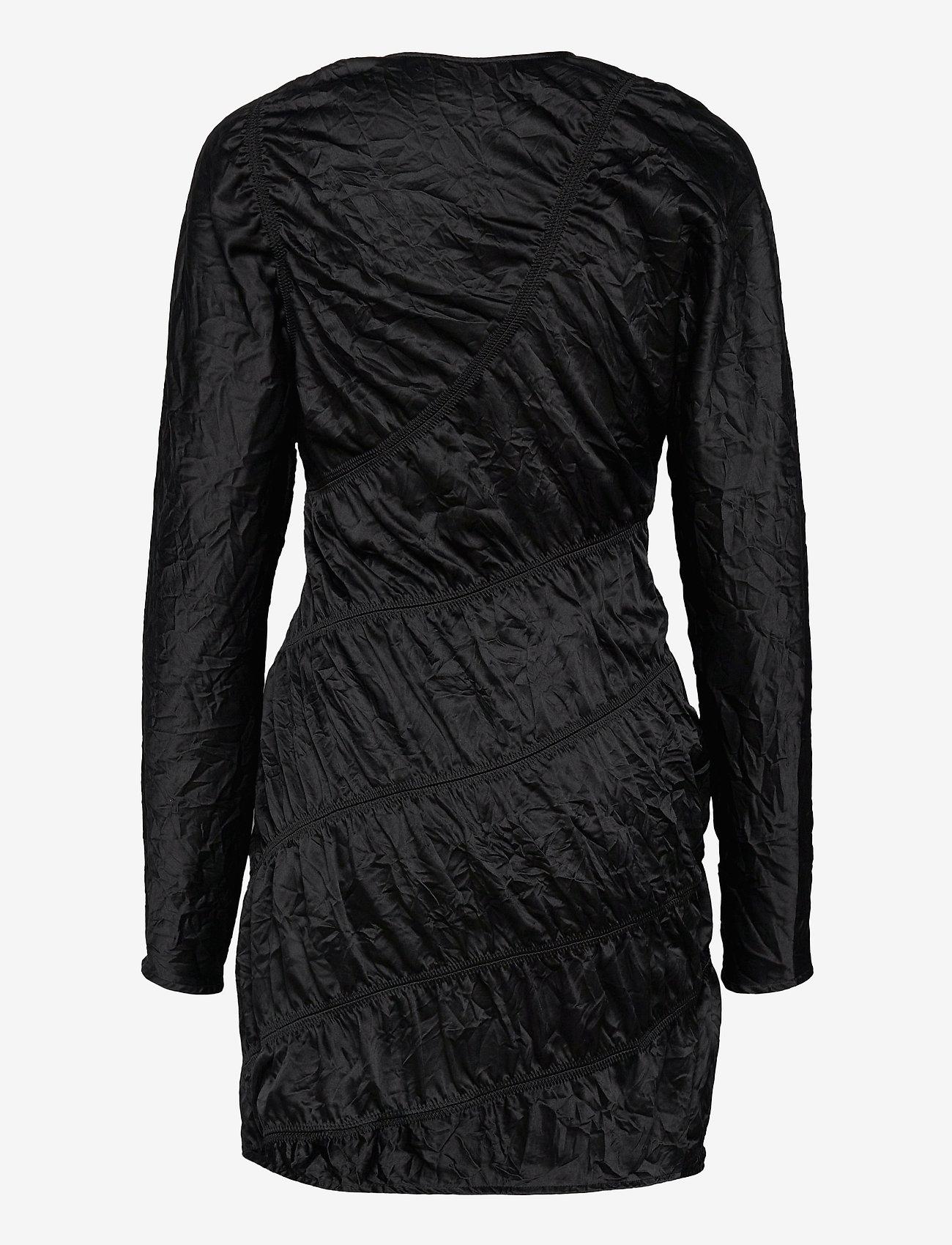 Ganni - Crinkled Satin - summer dresses - black - 1