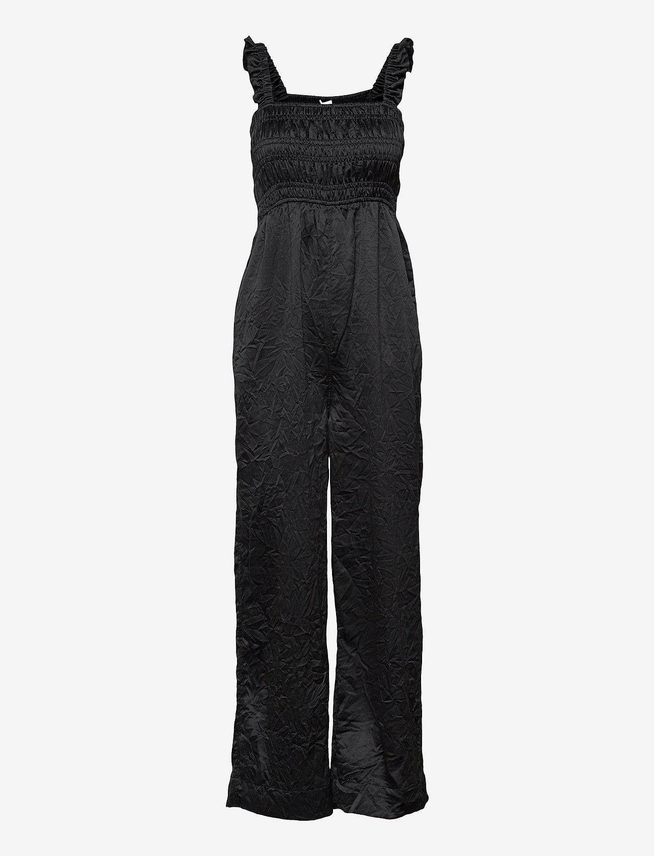 Ganni - Crinkled Satin - tøj - black - 0