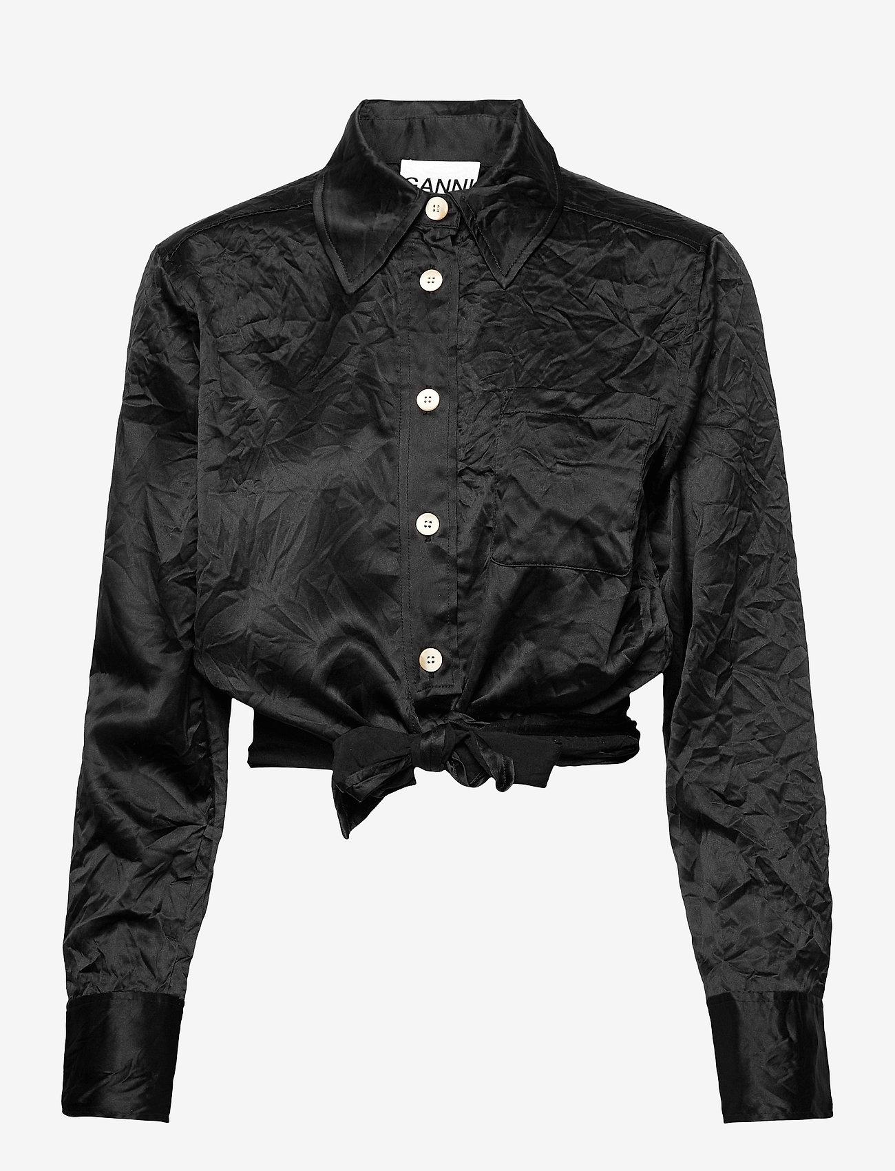 Ganni - Crinkled Satin - langærmede bluser - black - 0